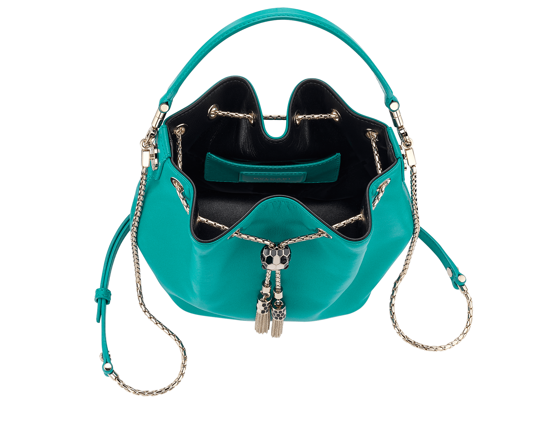 Serpenti Forever bucket bag in tropical turquoise smooth calf leather and black nappa inner lining. Snakehead closure in light gold plated brass decorated with black and white enamel, and black onyx eyes. 287981 image 4
