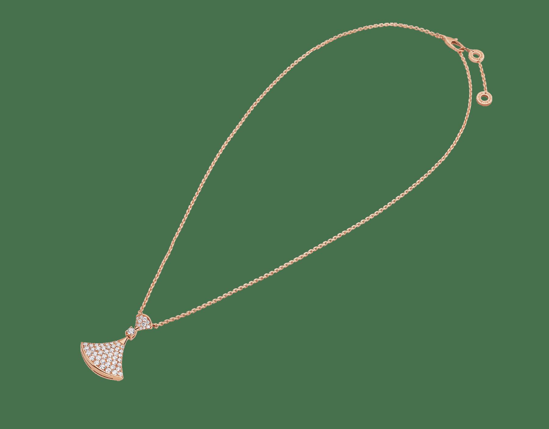 DIVAS' DREAM 18 kt rose gold pendant necklace set with a round brilliant-cut diamond (0.10 ct) and pavé diamonds (0.83 ct) 358121 image 2