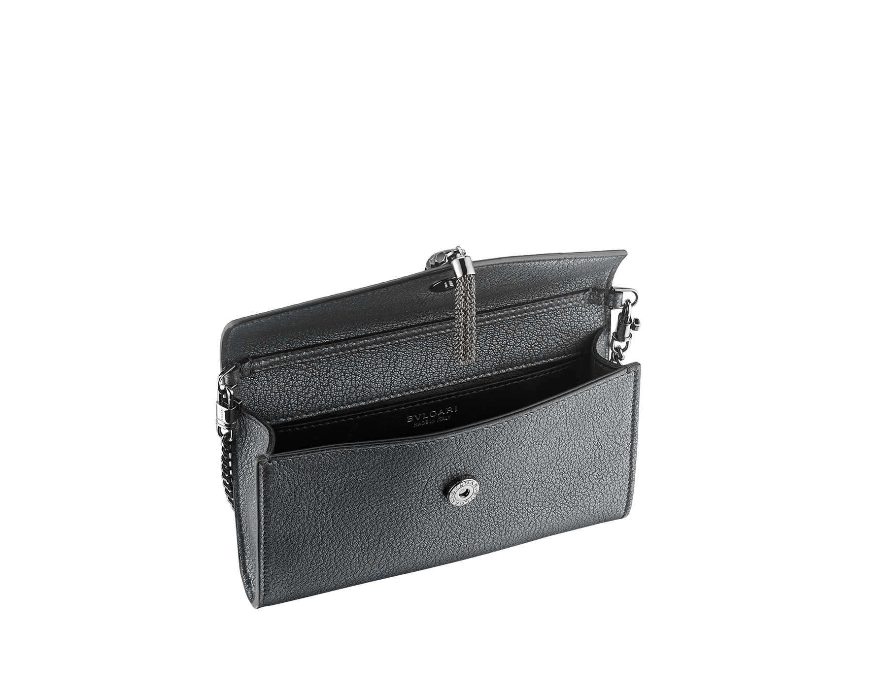 """""""Serpenti Forever"""" small pochette in charcoal diamond goatskin with a pearled effect and black nappa leather. Iconic snakehead stud closure a with tassel in dark ruthenium plated brass, enamelled in matte and shiny black and finished with black enamel eyes. SMALLPOCHETTE-LEATHER image 2"""