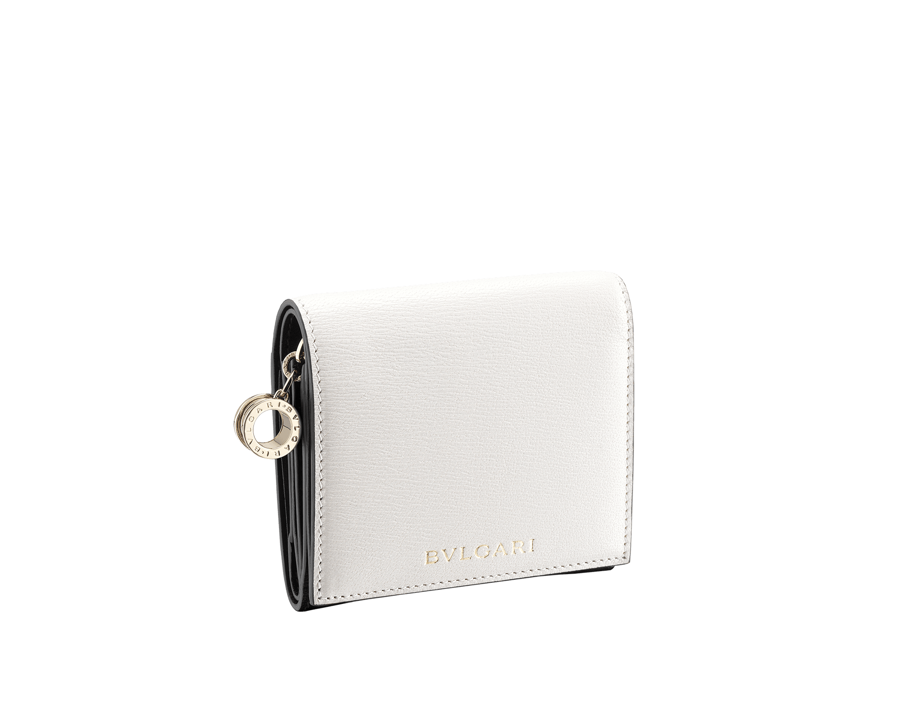 B.zero1 super compact wallet in white and black goatskin. Iconic B.zero1 charm in light gold plated brass. BZA-SUPERCOMPACT image 1