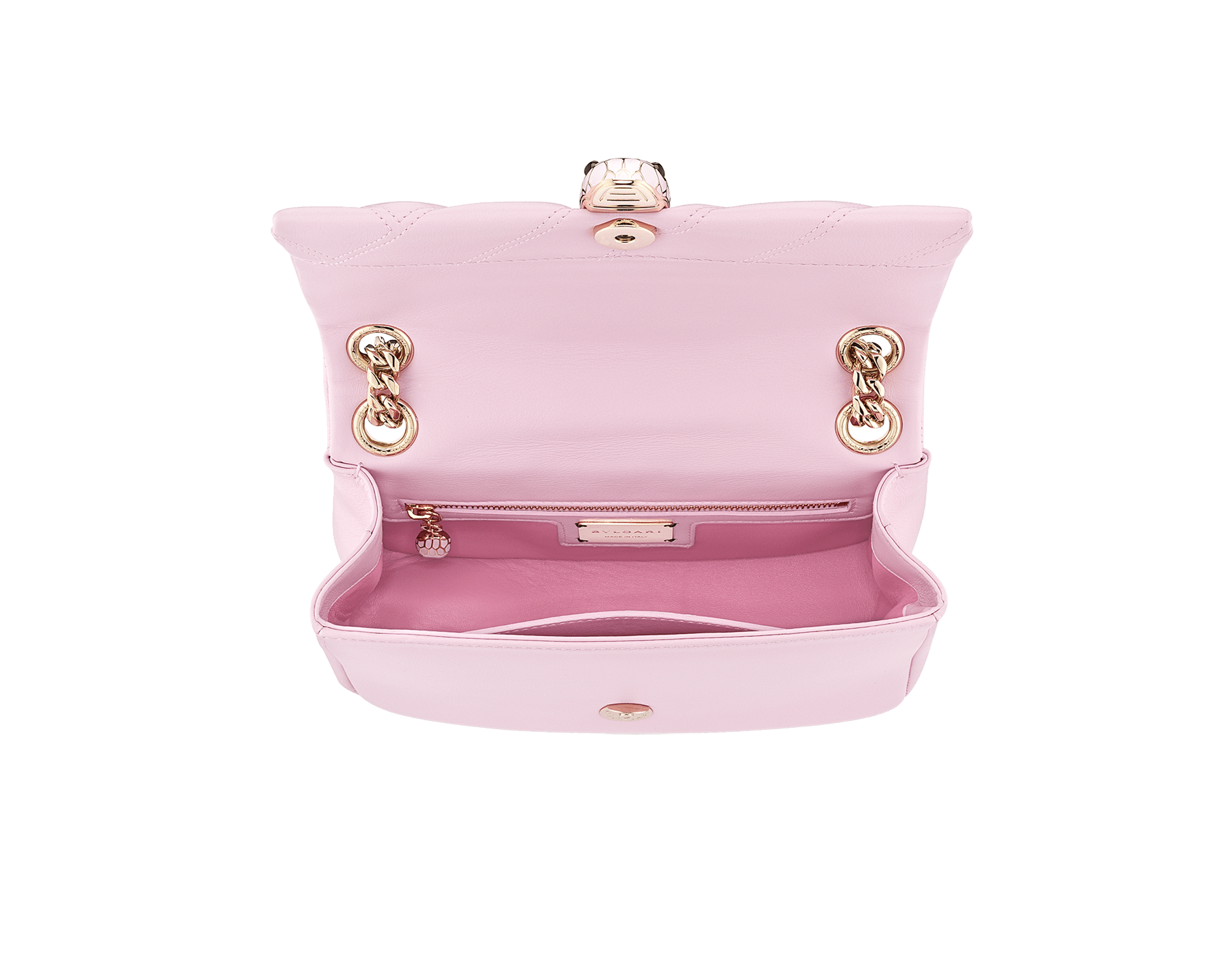 Serpenti Cabochon shoulder bag in soft matelassé rosa di francia nappa leather, with a graphic motif and rosa di francia calf leather. Brass light gold plated seductive snakehead closure in matt rosa di francia, shiny rosa di francia enamel and black onyx eyes. 288720 image 4