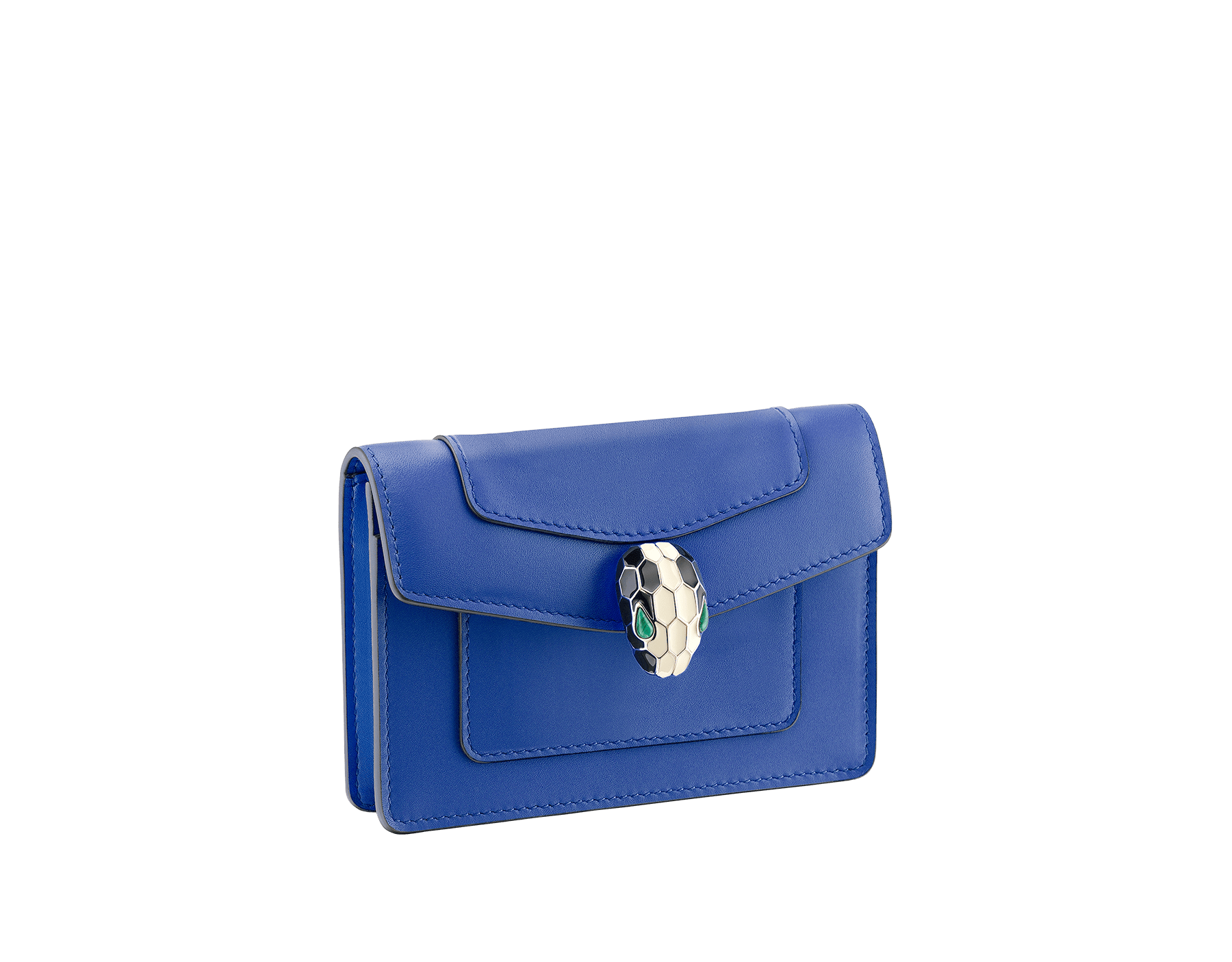 Pocket credit card holder in black and emerald green calf leather, with malachite nappa lining. Brass light gold plated Serpenti head stud closure in black and white enamel, with eyes in green malachite. SEA-CC-HOLD-POCKET-CL image 1