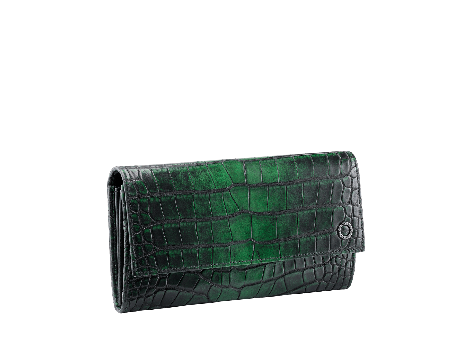Man wallet pochette in Jungle green alligator skin and black smooth calf leather, with brass dark ruthenium plated hardware featuring the Bulgari-Bulgari motif. 38622 image 1