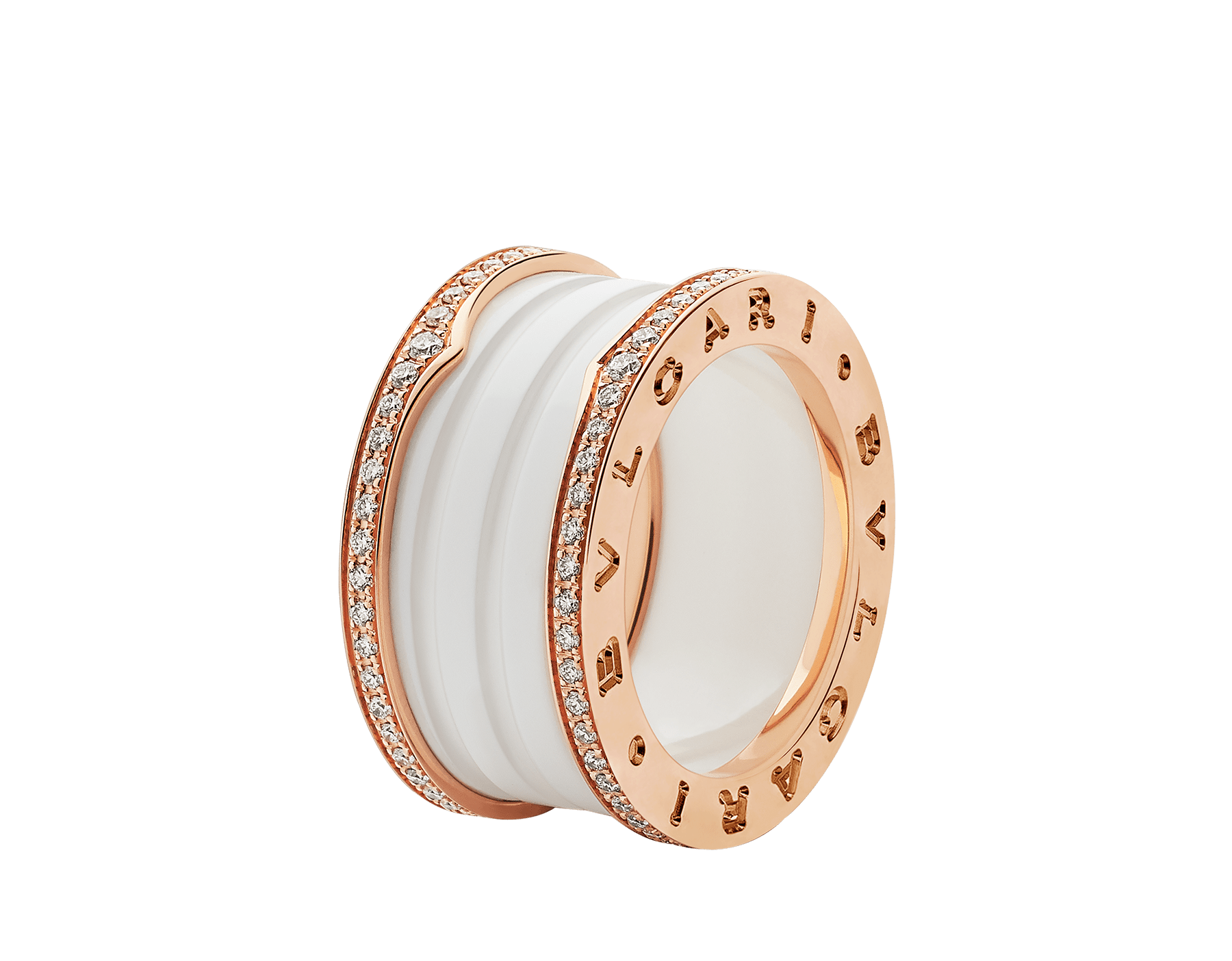 B.zero1 four-band ring with two 18 kt rose gold loops set with pavé diamonds on the edges and a white ceramic spiral. B-zero1-4-bands-AN857030 image 1