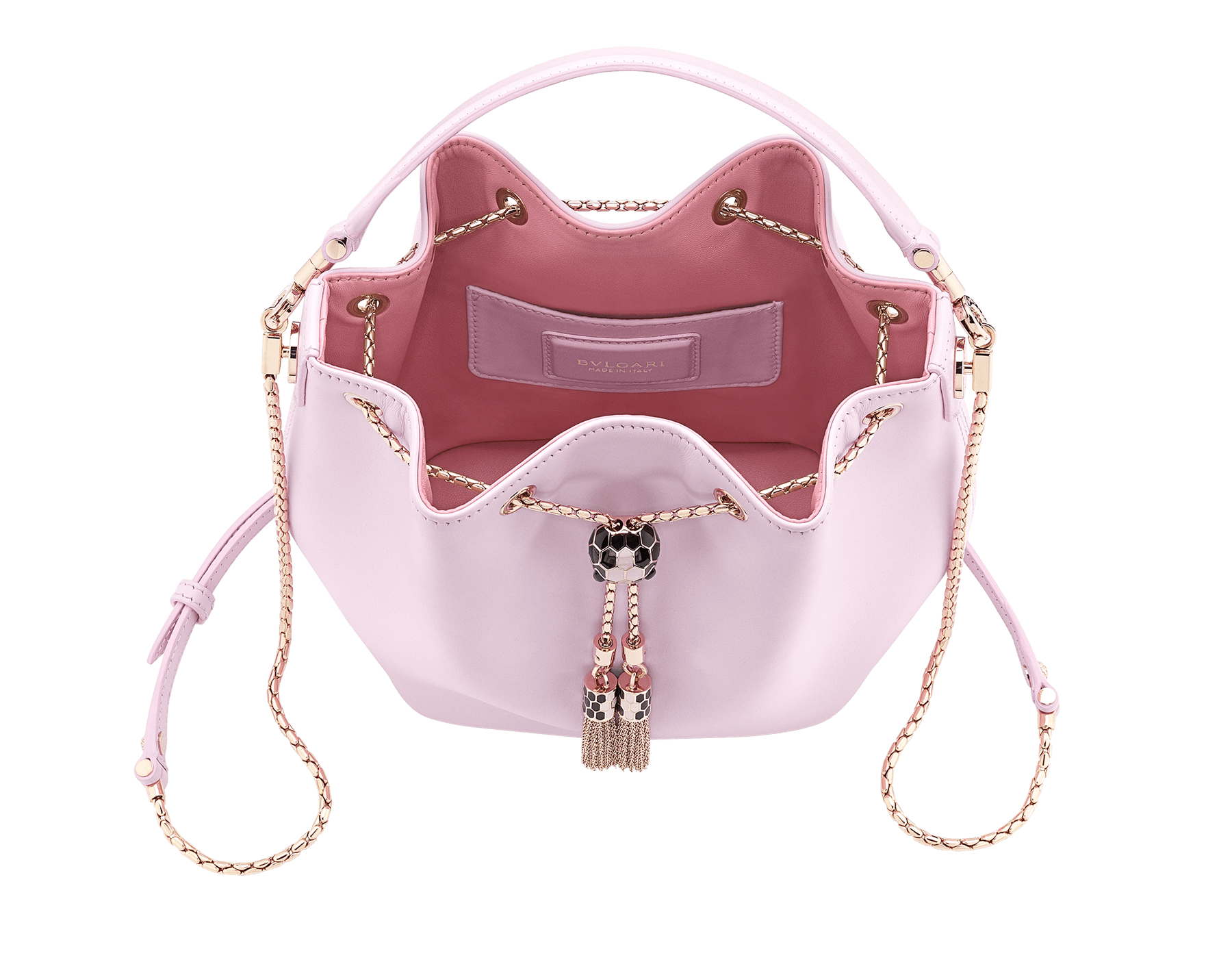 Serpenti Forever bucket in rosa di francia smooth calf leather and a flamingo quartz inner lining. Hardware in light gold plated brass and snakehead closure in black and white enamel, with eyes in black onyx. 288769 image 4