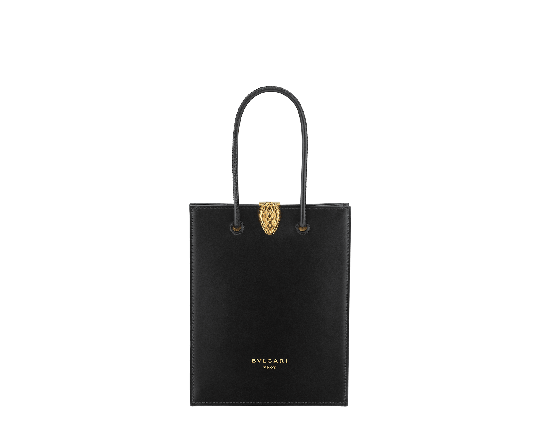 Alexander Wang x Bvlgari mini shopping tote bag in black smooth calf leather. New Serpenti head closure in antique gold plated brass with tempting red enamel eyes. Limited edition. 288726 image 1