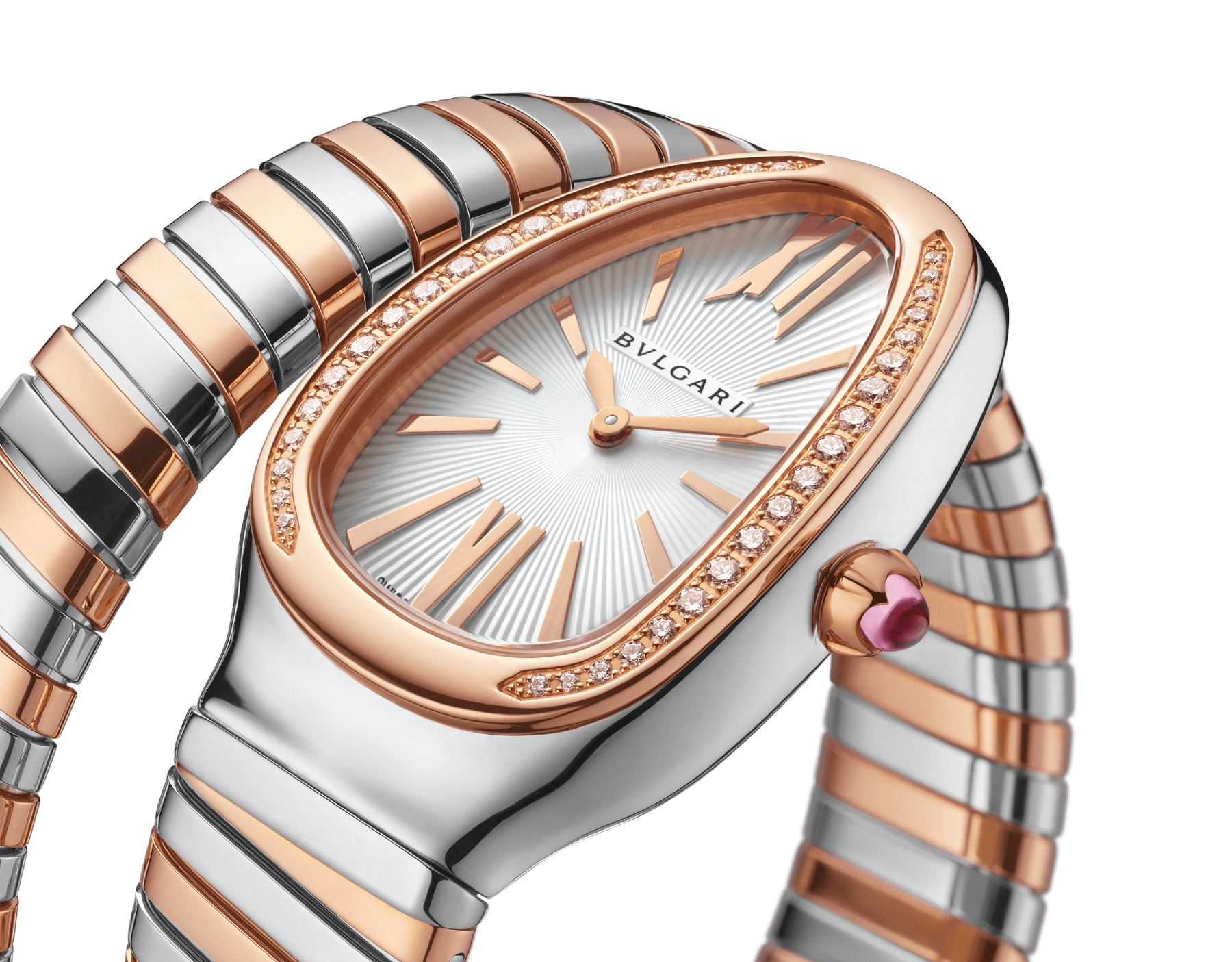 Serpenti Tubogas single spiral watch with stainless steel case, 18 kt rose gold bezel set with brilliant cut diamonds, silver opaline dial, 18 kt rose gold and stainless steel bracelet. 102237 image 3