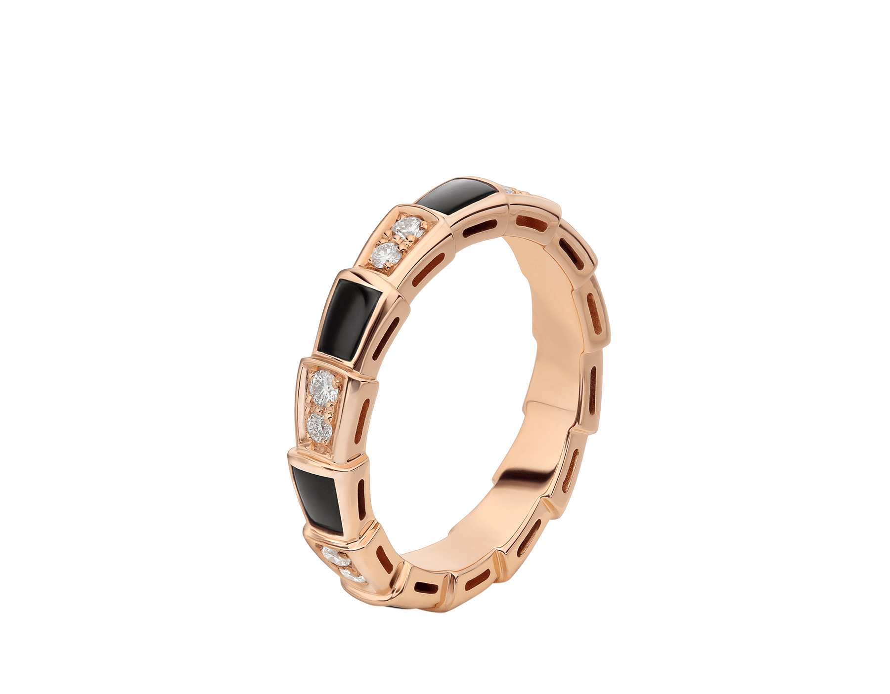 Serpenti Viper 18 kt rose gold thin ring set with onyx elements and pavé diamonds. AN858710 image 1