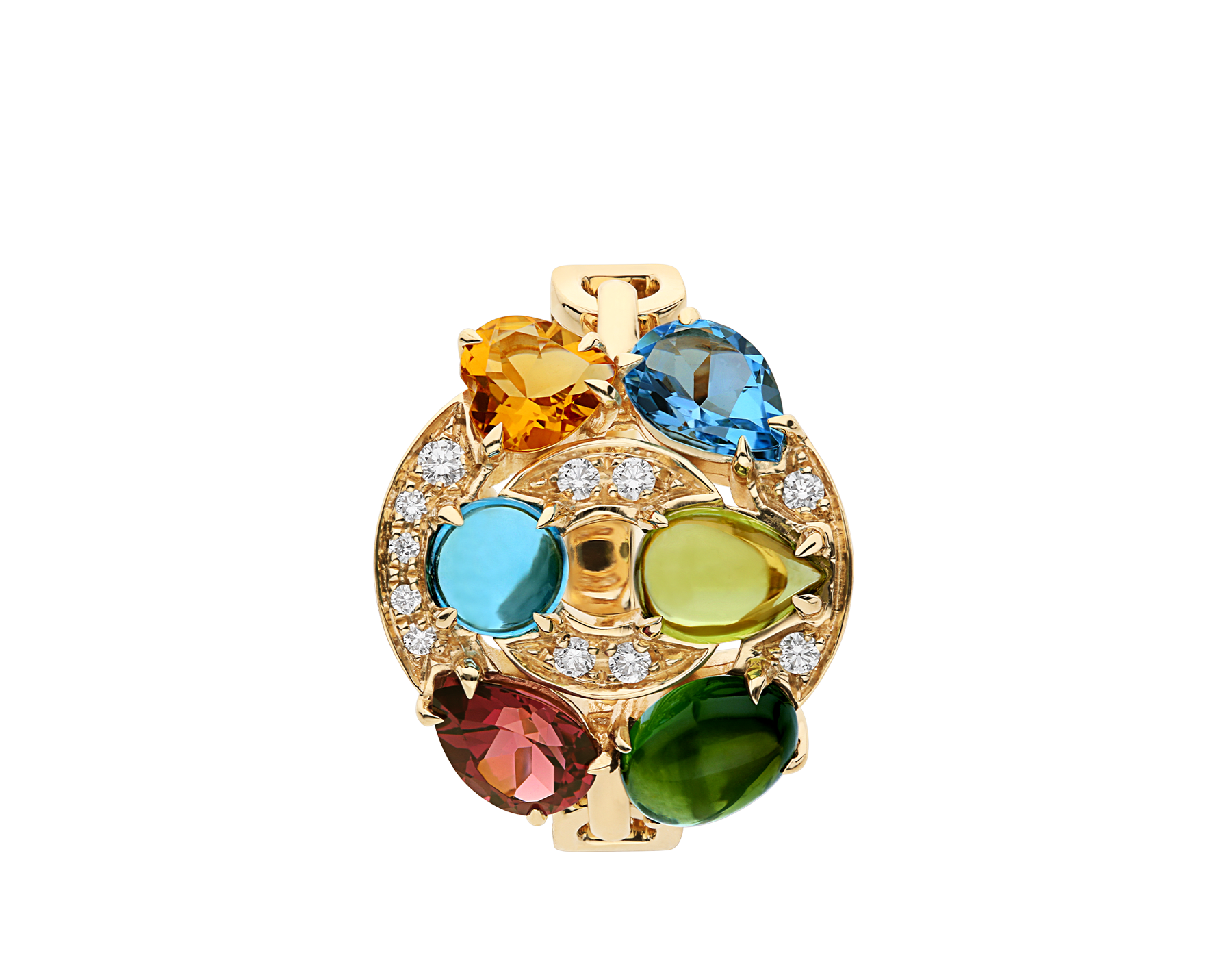 Cerchi shield-design 18 kt yellow gold ring set with blue topazes, green tourmaline, peridot, citrine quartz, rhodolite garnet and pavé diamonds AN852996 image 2