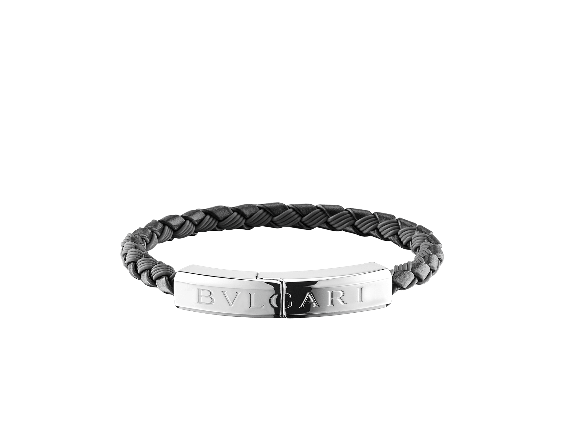 """""""BVLGARI BVLGARI"""" bracelet in black calf leather and black rubber with a silver plated closure with Bvlgari logo. LogoPlate-CLR-B image 1"""