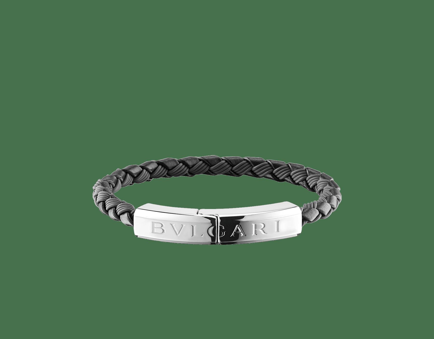 """Pulseira """"BVLGARI BVLGARI"""" em couro de novilho preto e borracha preta com um fecho banhado a prata com logotipo Bvlgari. LogoPlate-CLR-B image 1"""