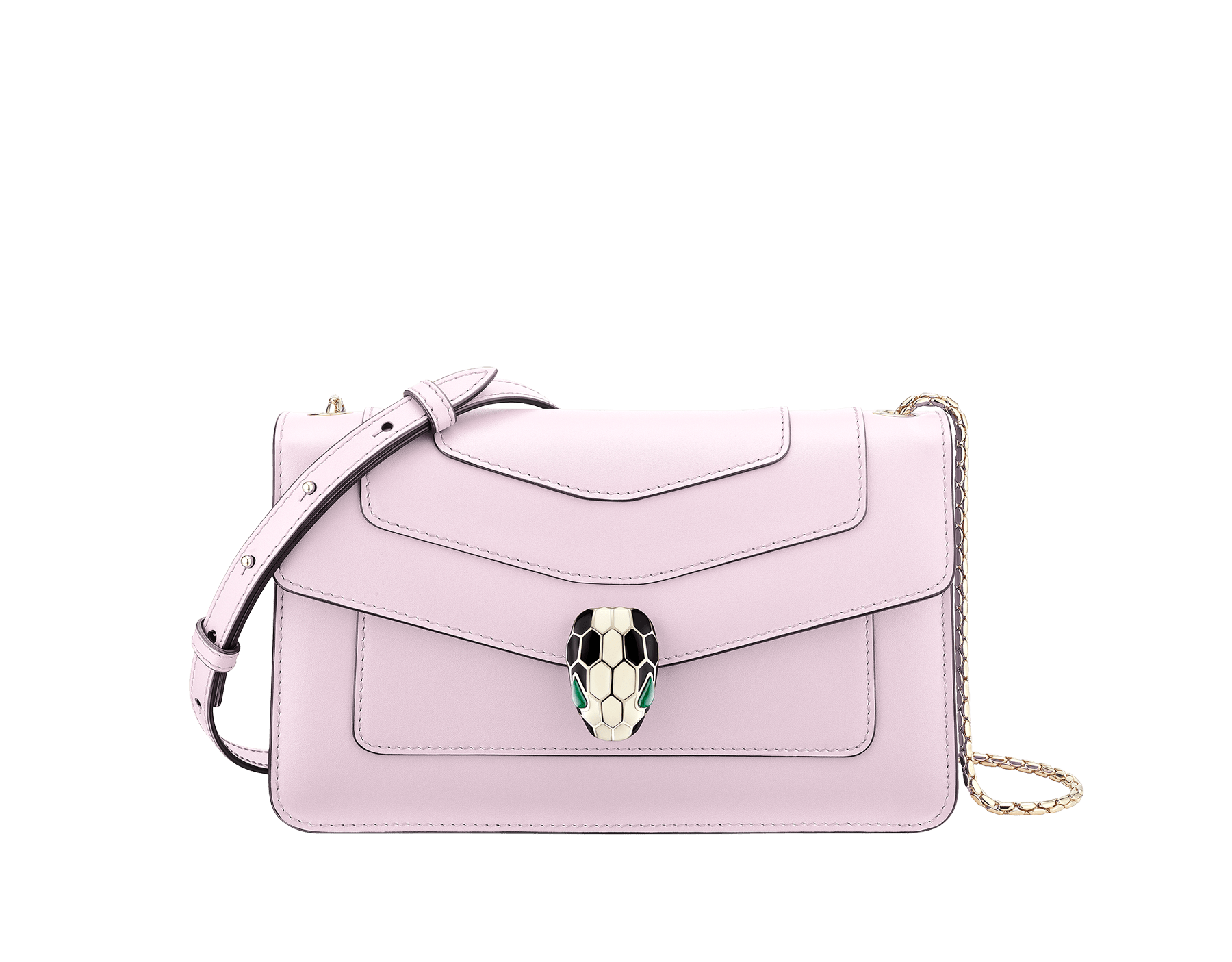 Serpenti Forever crossbody bag in rosa di francia calf leather. Iconic snakehead closure in light gold plated brass embellished with black and white enamel and green malachite eyes. 288715 image 1