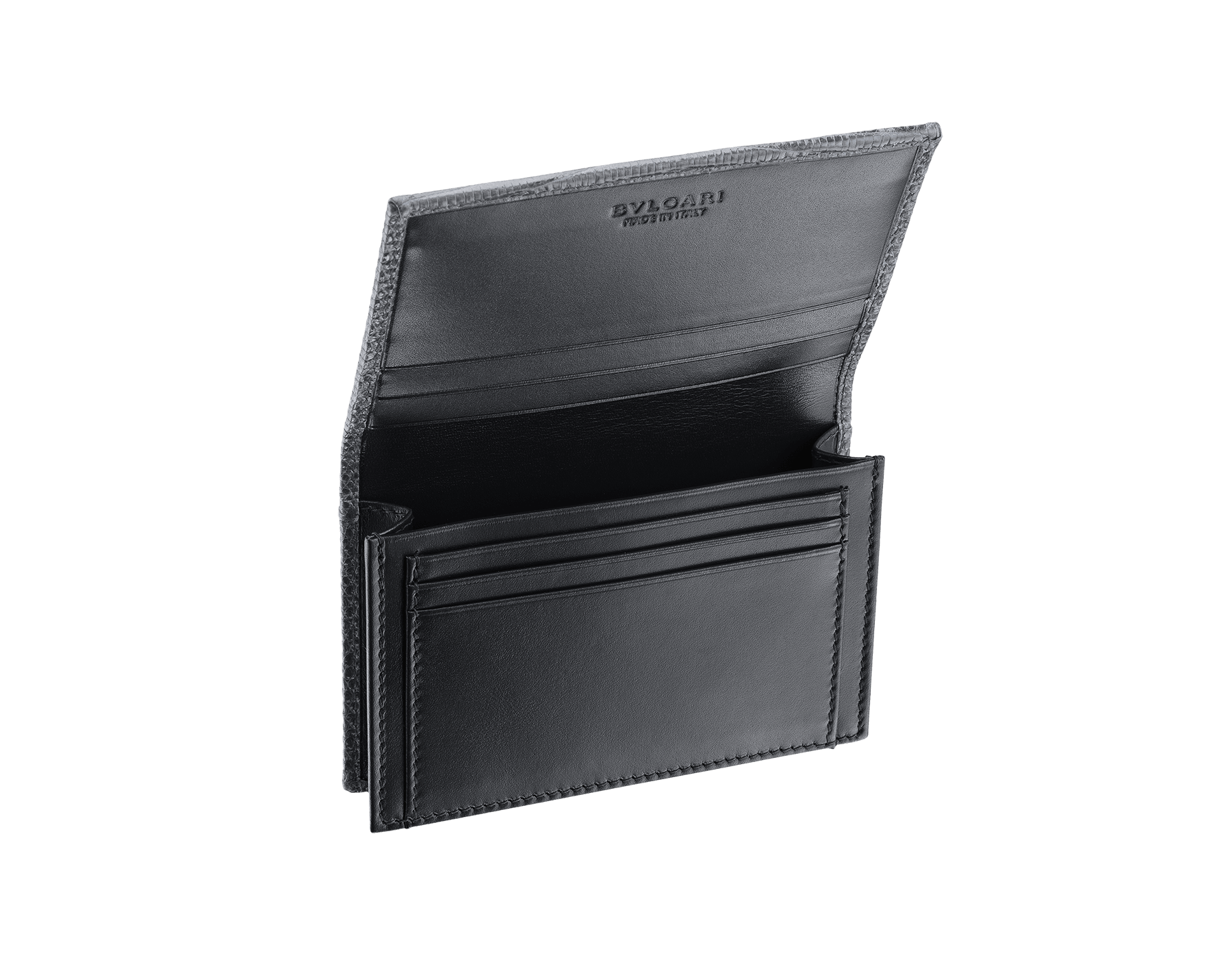 """BVLGARI BVLGARI"" business-card holder in shiny Charcoal Diamond grey lizard skin and black calfskin. Palladium-plated brass embellishment with logo. BBM-BC-HOLD-SIMPLE-sl image 2"