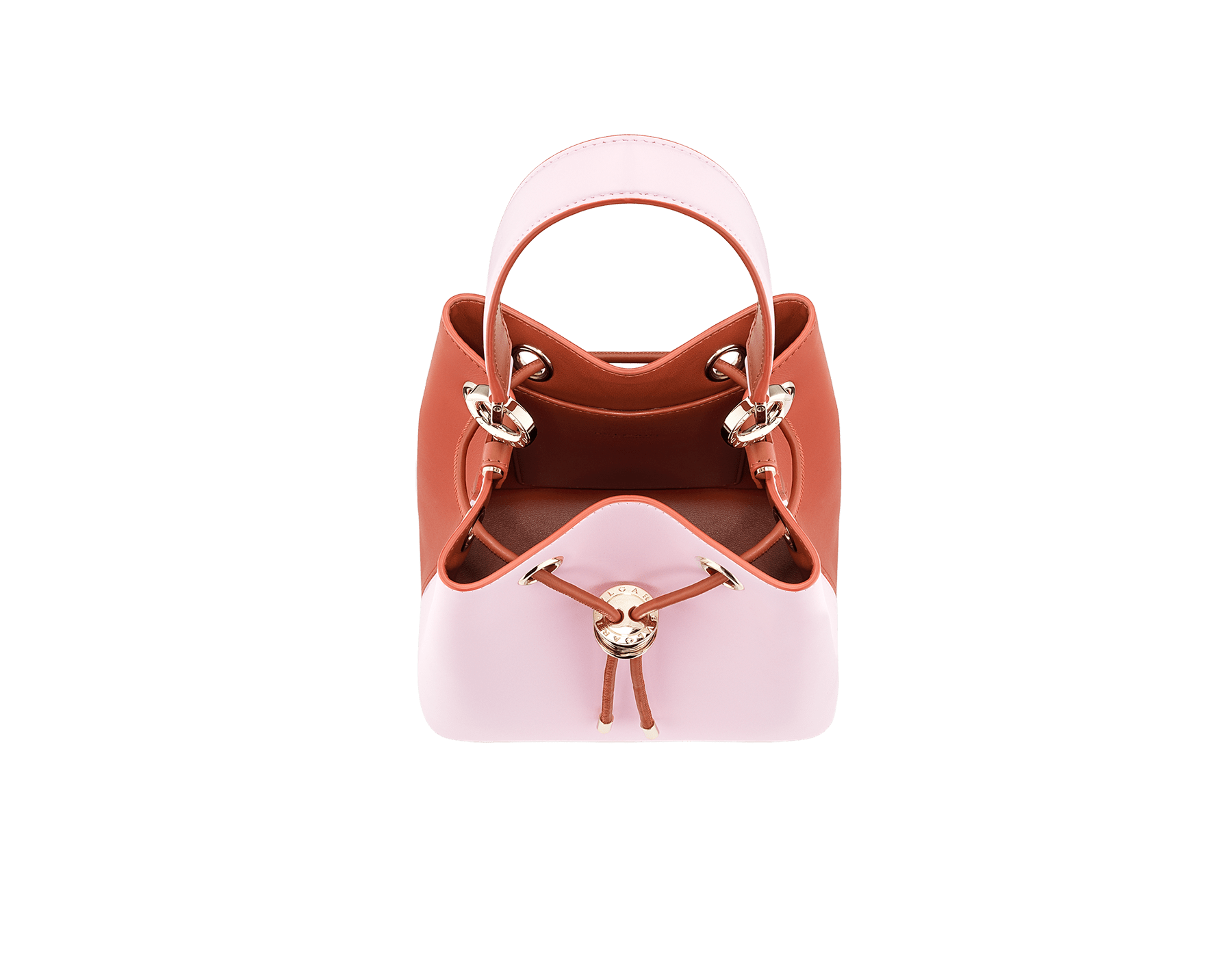 Bucket B.zero1 in rosa di francia and imperial topaz smooth calf leather and imperial topaz nappa inner lining. Hardware in light gold plated brass, featuring B.zero1 décor. 288951 image 4
