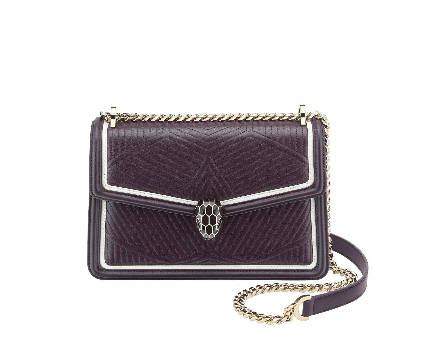 """Serpenti Diamond Blast"" shoulder bag in plum amethyst quilted nappa leather body and tone-on-tone and white calf leather frames. Iconic snakehead closure in light gold-plated brass enriched with plum amethyst and black enamel and black onyx eyes. 288635 image 1"