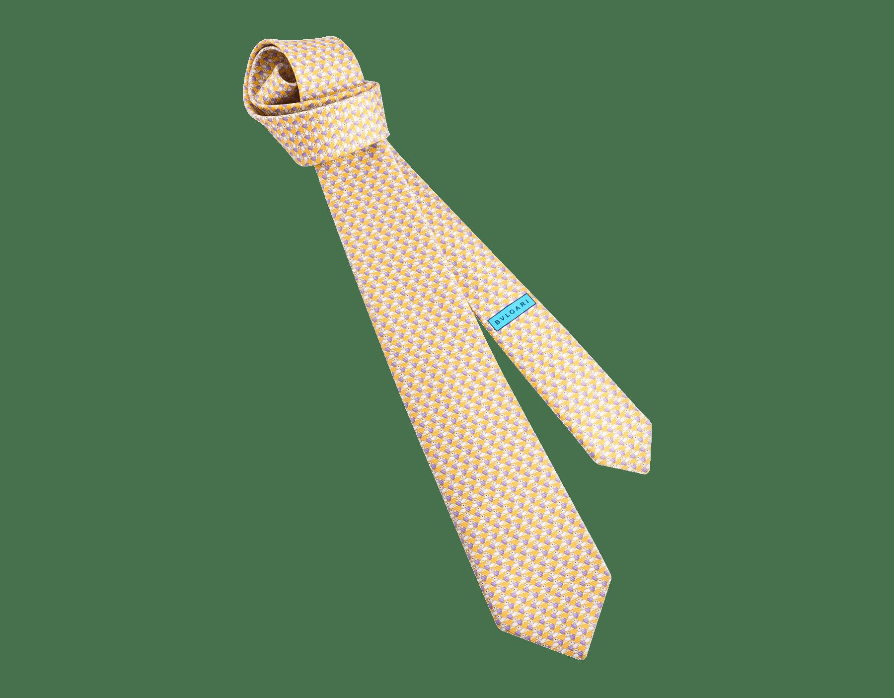 Cravate sept plis Pandheart jaune en fine serge de soie imprimée. 243628 image 1
