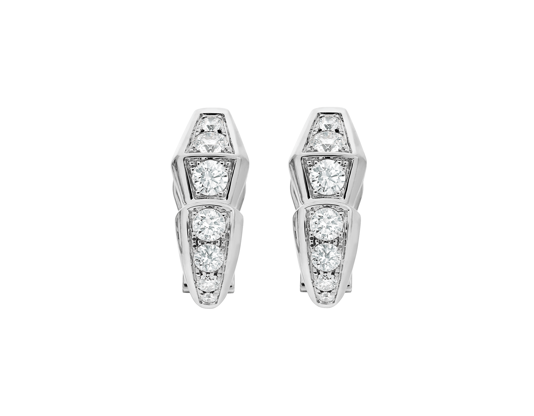 Serpenti Viper slim earrings in 18 kt white gold, set with full pavé diamonds. 351426 image 1