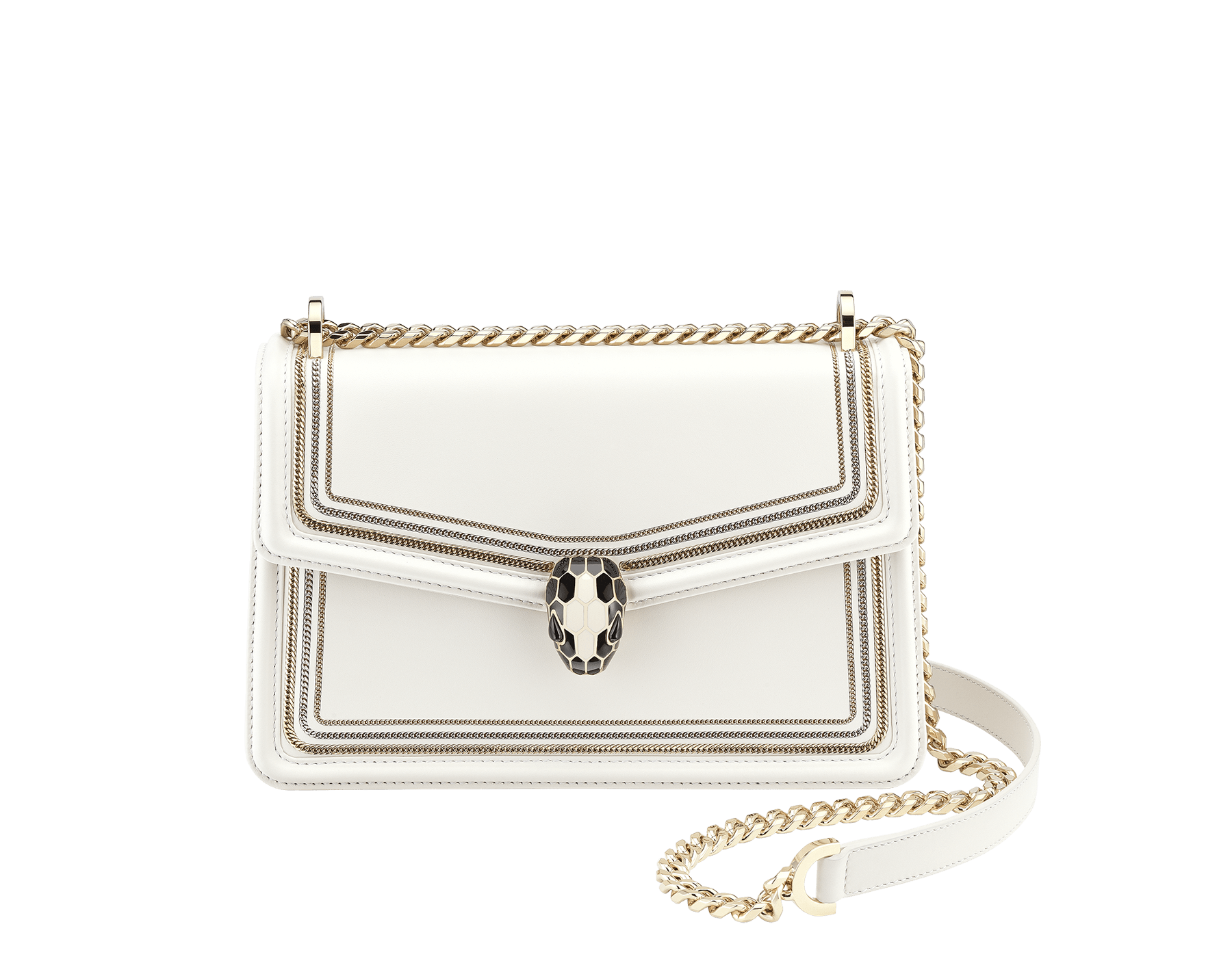 """""""Serpenti Diamond Blast"""" shoulder bag in black smooth calf leather, featuring a 3-Chain motif in light gold and palladium finishing. Iconic snakehead closure in light gold plated brass enriched with black and white enamel and black onyx eyes 922-3CFCL image 1"""