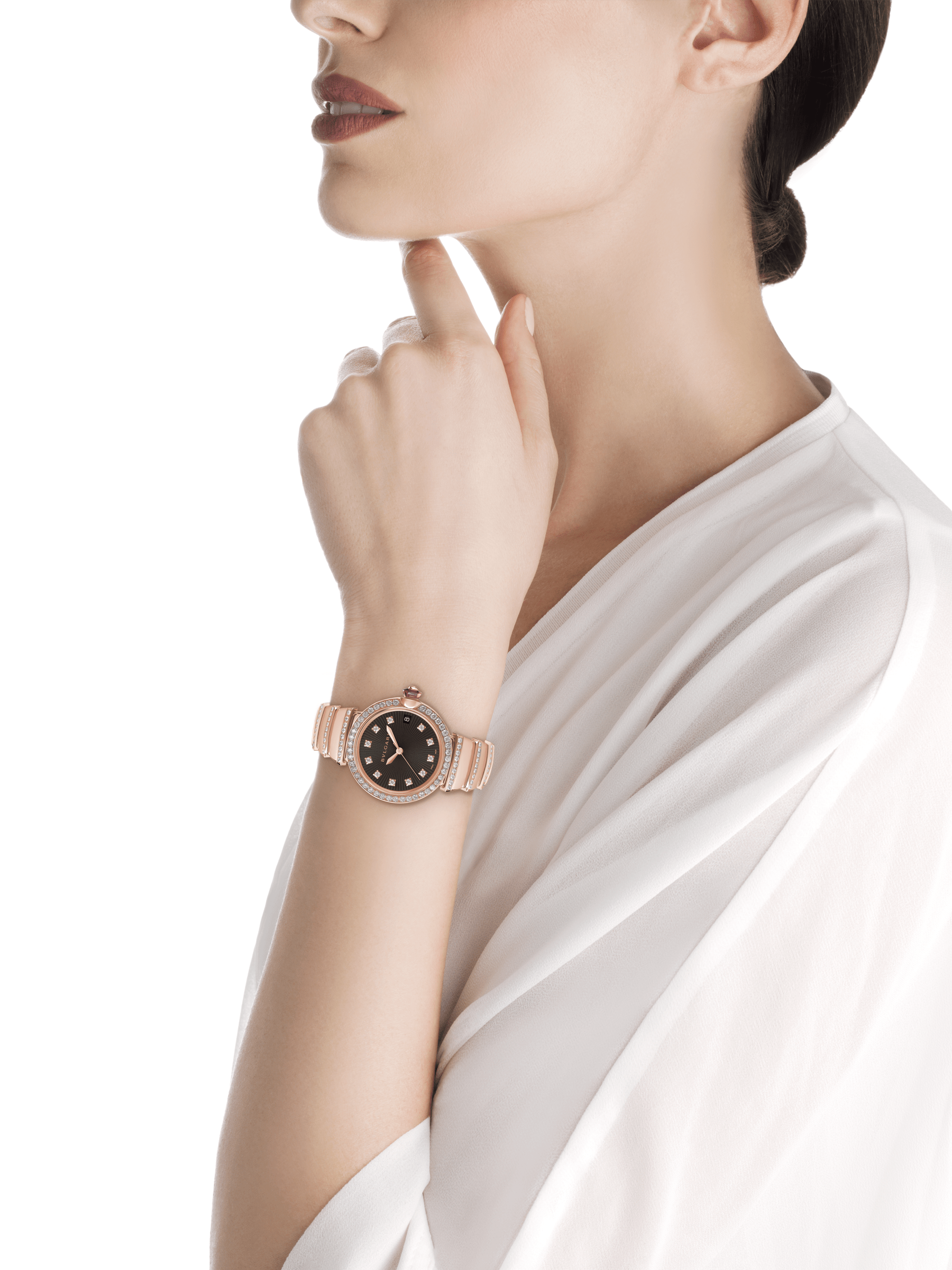 LVCEA watch in 18 kt rose gold and brilliant-cut diamond case and bracelet, with black opaline dial. 102191 image 5