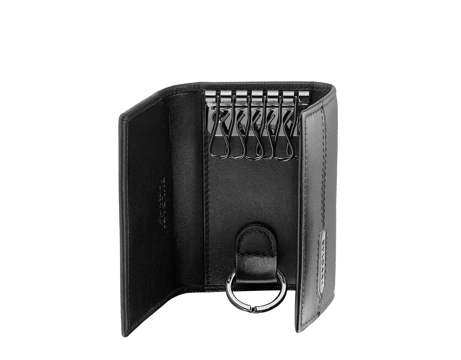 Keyholder in black grazed calf leather and black calf leather. Bulgari logo on metal plate featuring the Scaglie motif finished in dark ruthenium. 280887 image 2
