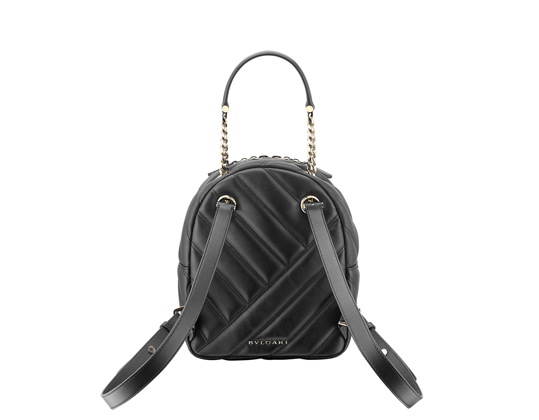 Serpenti Cabochon backpack in soft quilted white agate calf leather, with a graphic motif. Light gold plated brass tempting snakehead closure in black and white agate enamel and black onyx eyes. 1009-NSM image 3