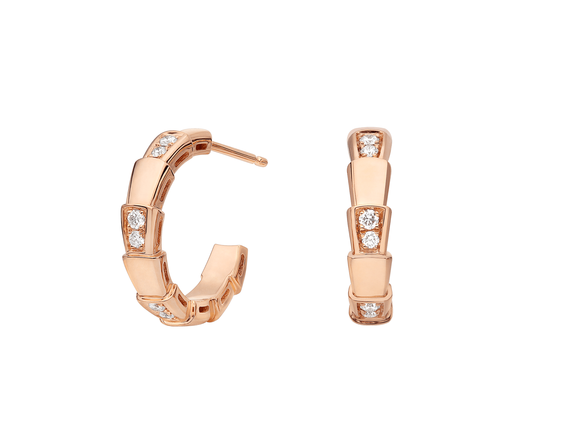 Serpenti Viper 18 kt rose gold earrings set with pavé diamonds (0.28 ct) 356175 image 1