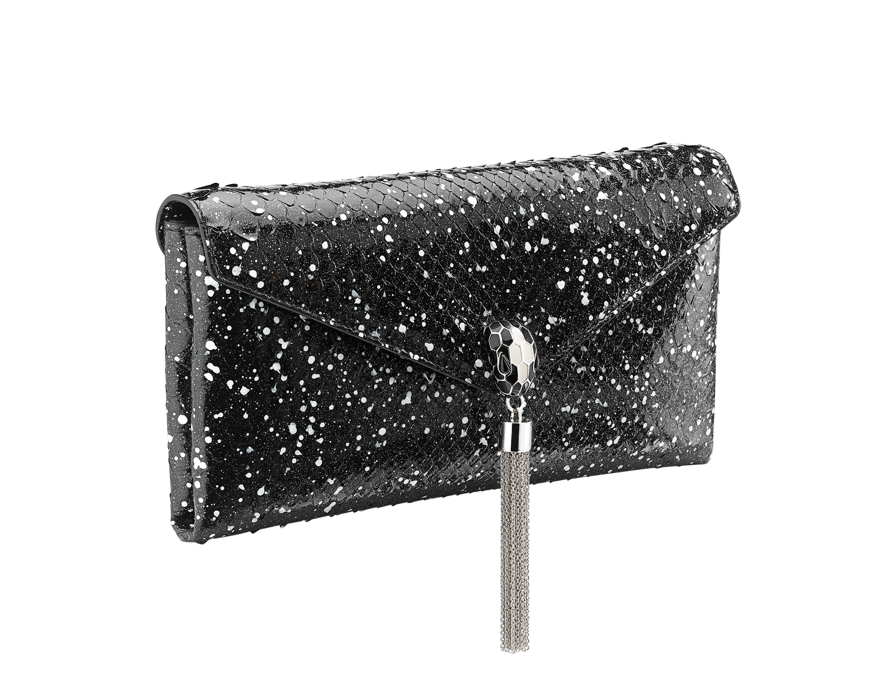 Serpenti evening clutch in black and white Cosmic python skin. Snakehead stud closure with tassel in palladium plated brass decorated with black and white enamel, and black onyx eyes. 288528 image 2