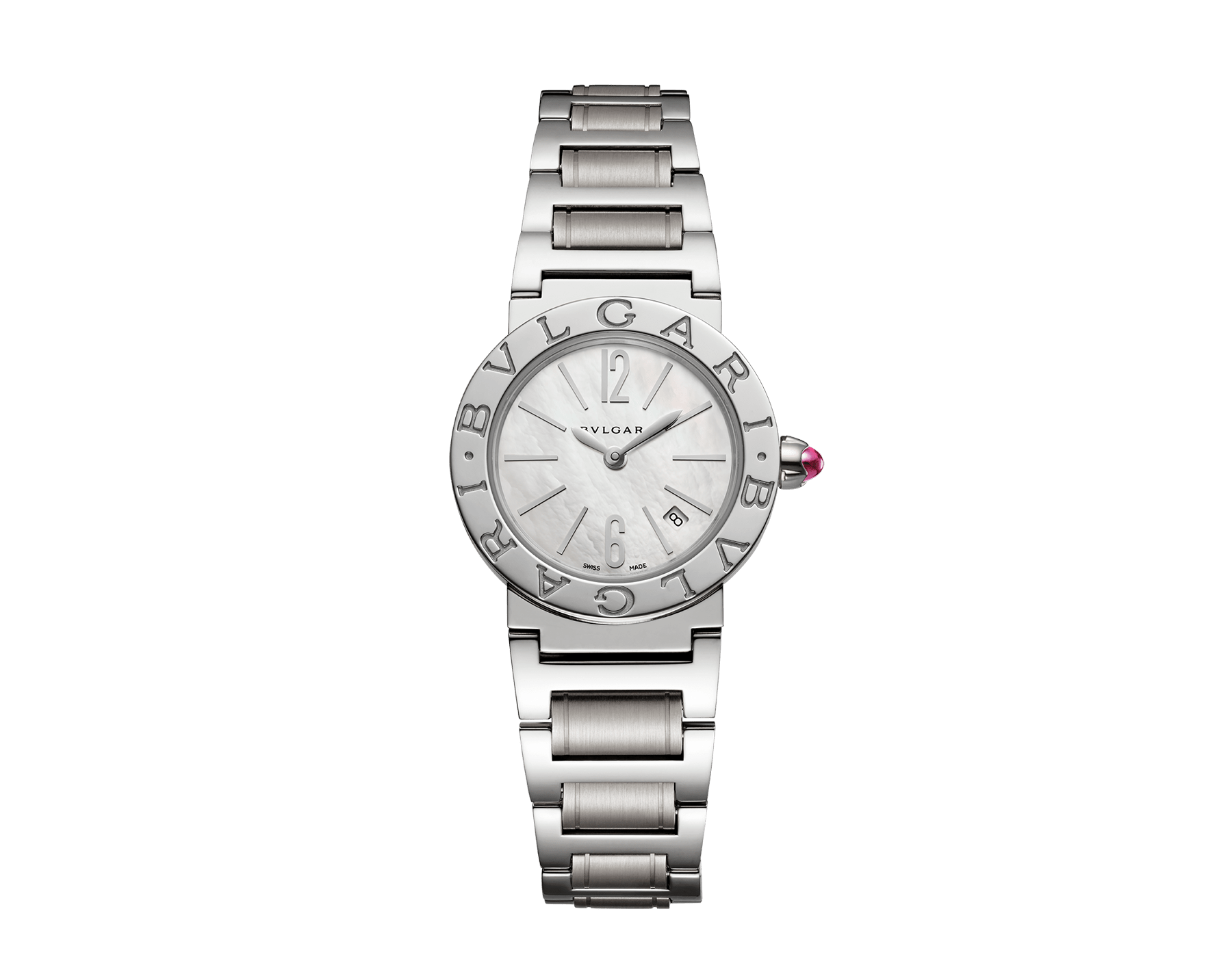 BVLGARI BVLGARI watch in stainless steel case and bracelet with white mother-of-pearl dial and date indication. Small model 101885 image 1