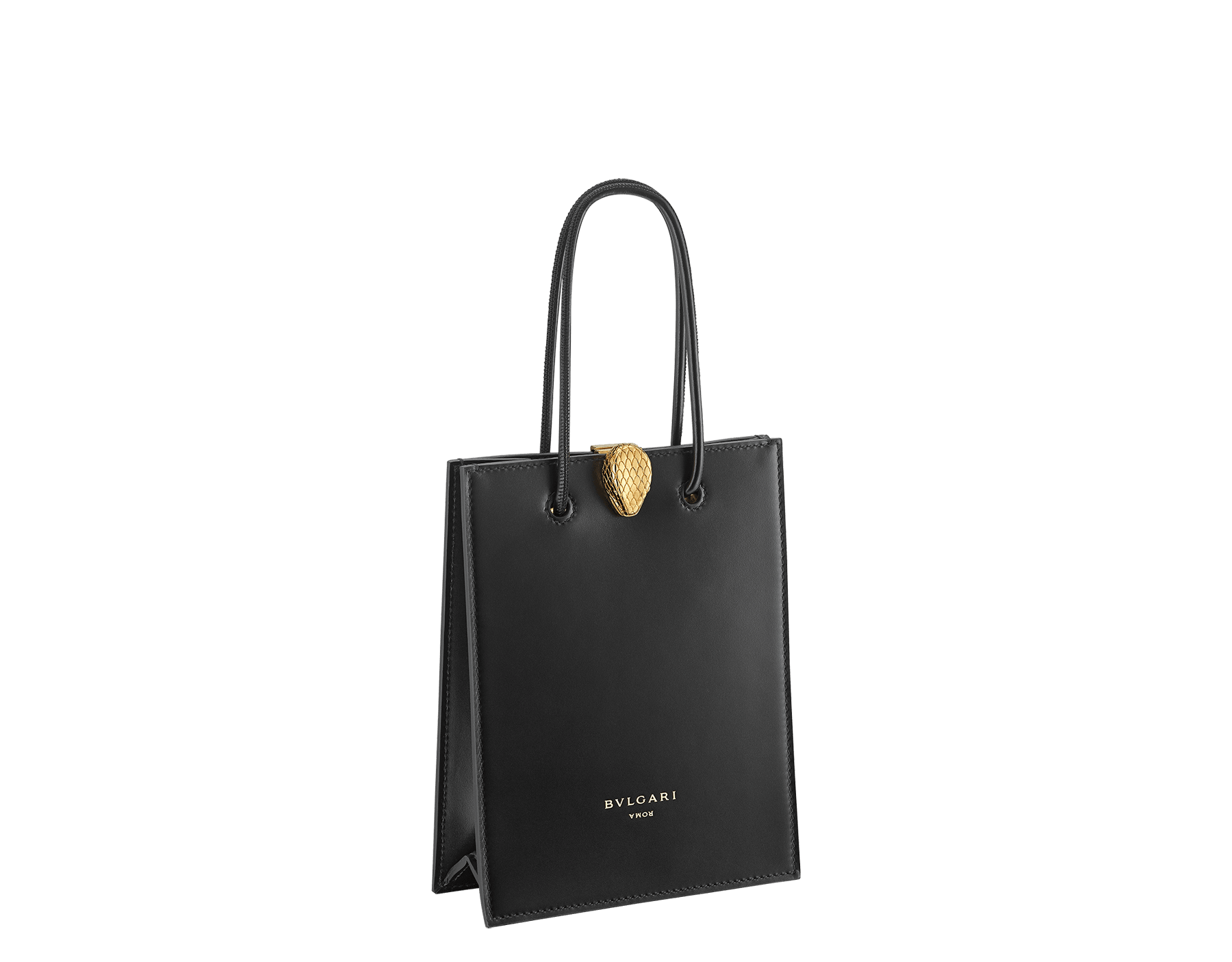 Alexander Wang x Bvlgari mini shopping tote bag in black smooth calf leather. New Serpenti head closure in antique gold plated brass with tempting red enamel eyes. Limited edition. 288726 image 2