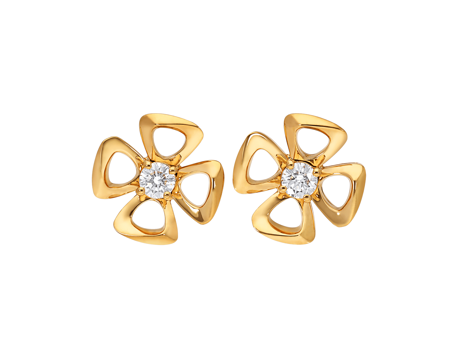 Fiorever 18 kt yellow gold stud earrings set with two central diamonds (0.10 ct each) 357503 image 1