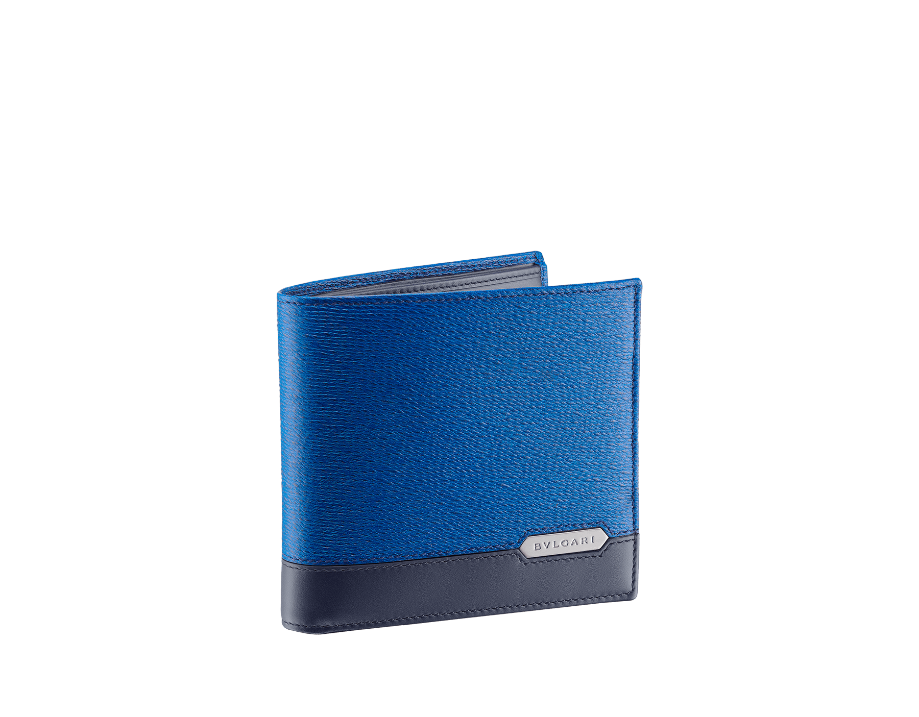 Serpenti Scaglie men's wallet in cobalt tourmaline grazed calf leather and dark denim calf leather. Bvlgari logo engraved on the hexagonal scaglie metal plate finished in dark ruthenium. 288603 image 1