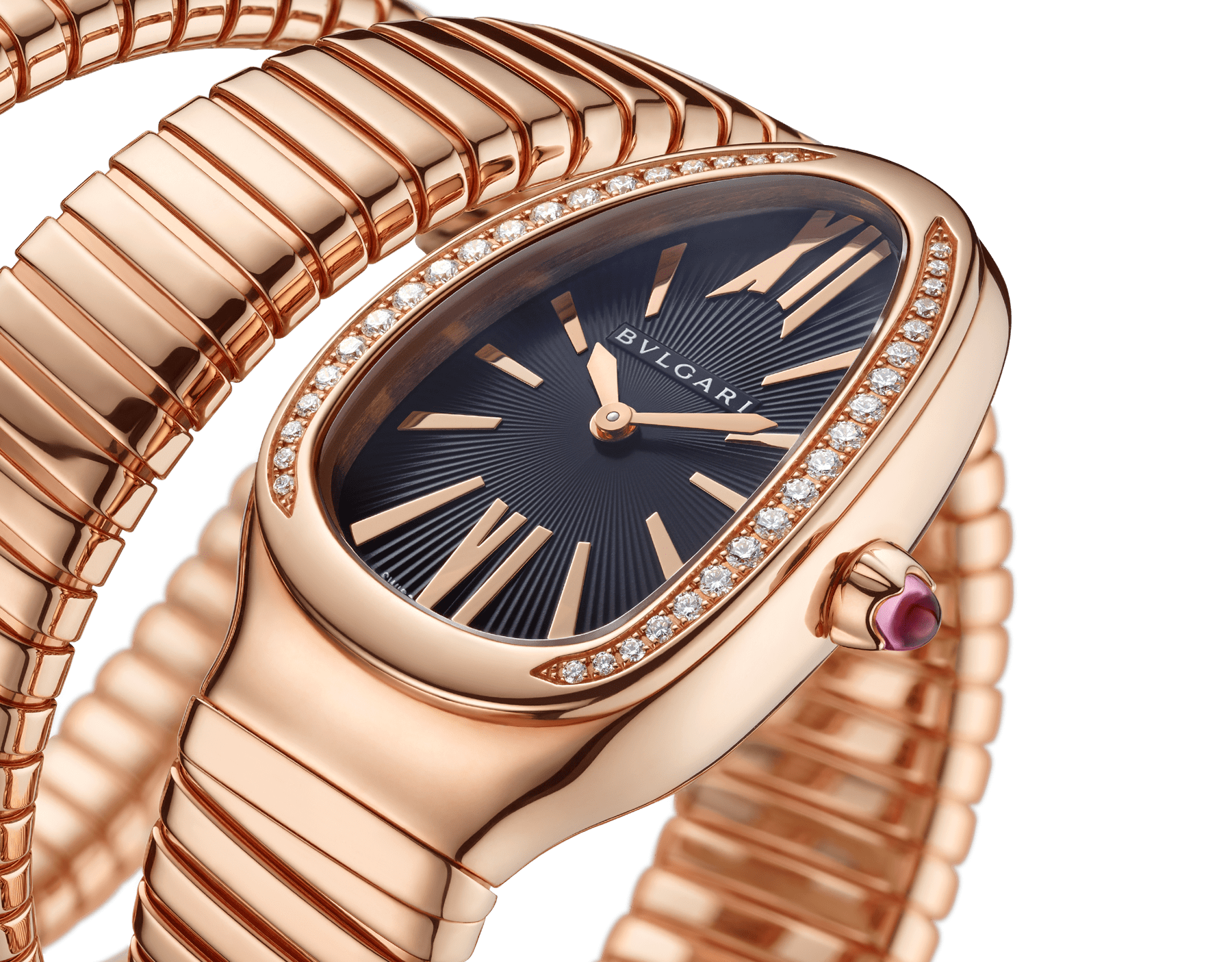 Serpenti Tubogas double spiral watch with 18 kt rose gold case set with brilliant cut diamonds, black opaline dial and 18 kt rose gold bracelet. 101814 image 3