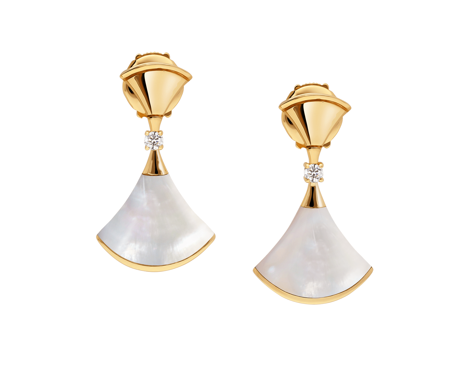 DIVAS' DREAM 18 kt yellow gold earrings set with mother-of-pearl elements and diamonds 357513 image 1