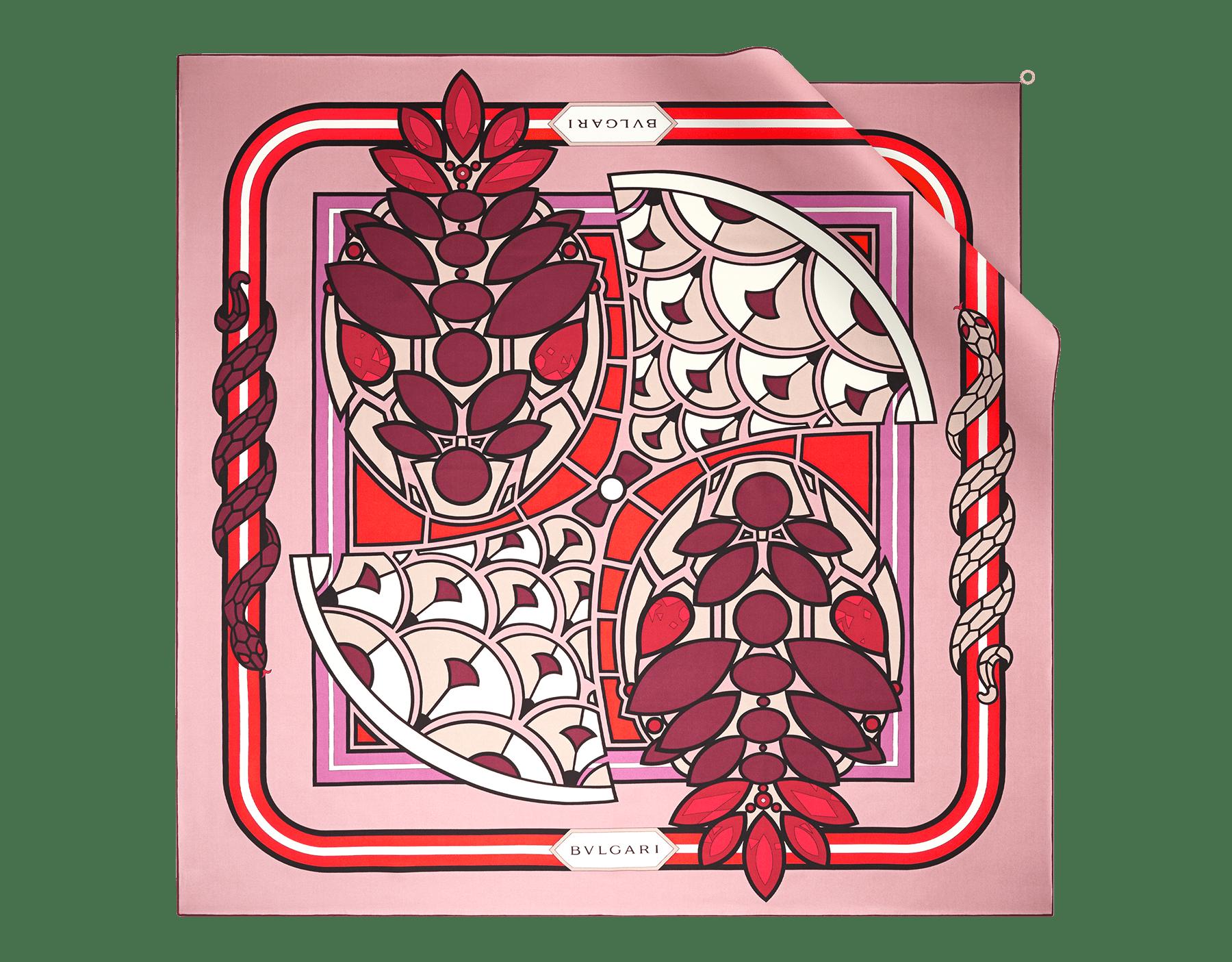 Foulard Enchanted Diva rosa agata in pregiato twill di seta. 243034 image 1