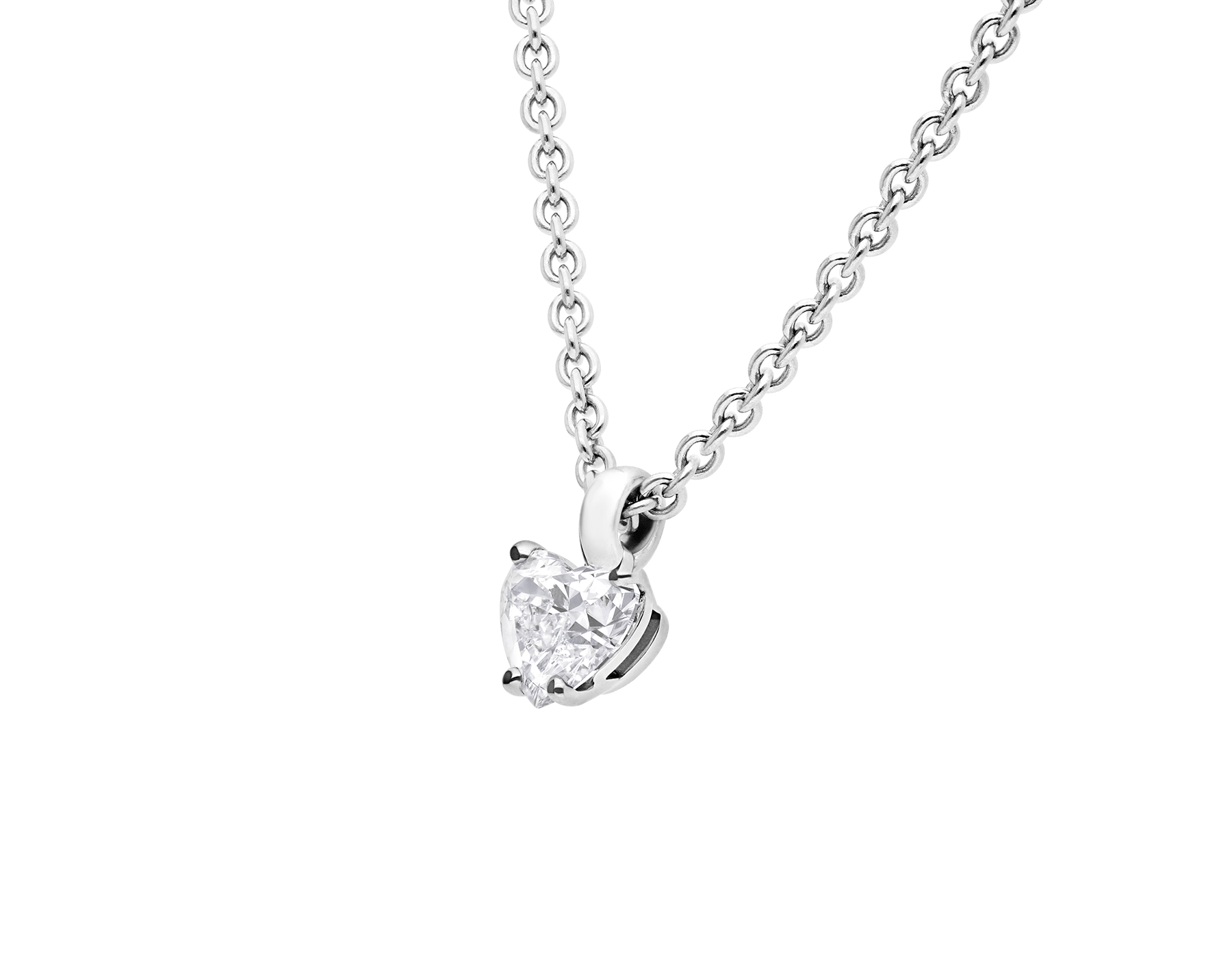 Pendentif Griffe en or blanc 18K serti d'un diamant taille cœur et chaîne en or blanc 18K 338204 image 3