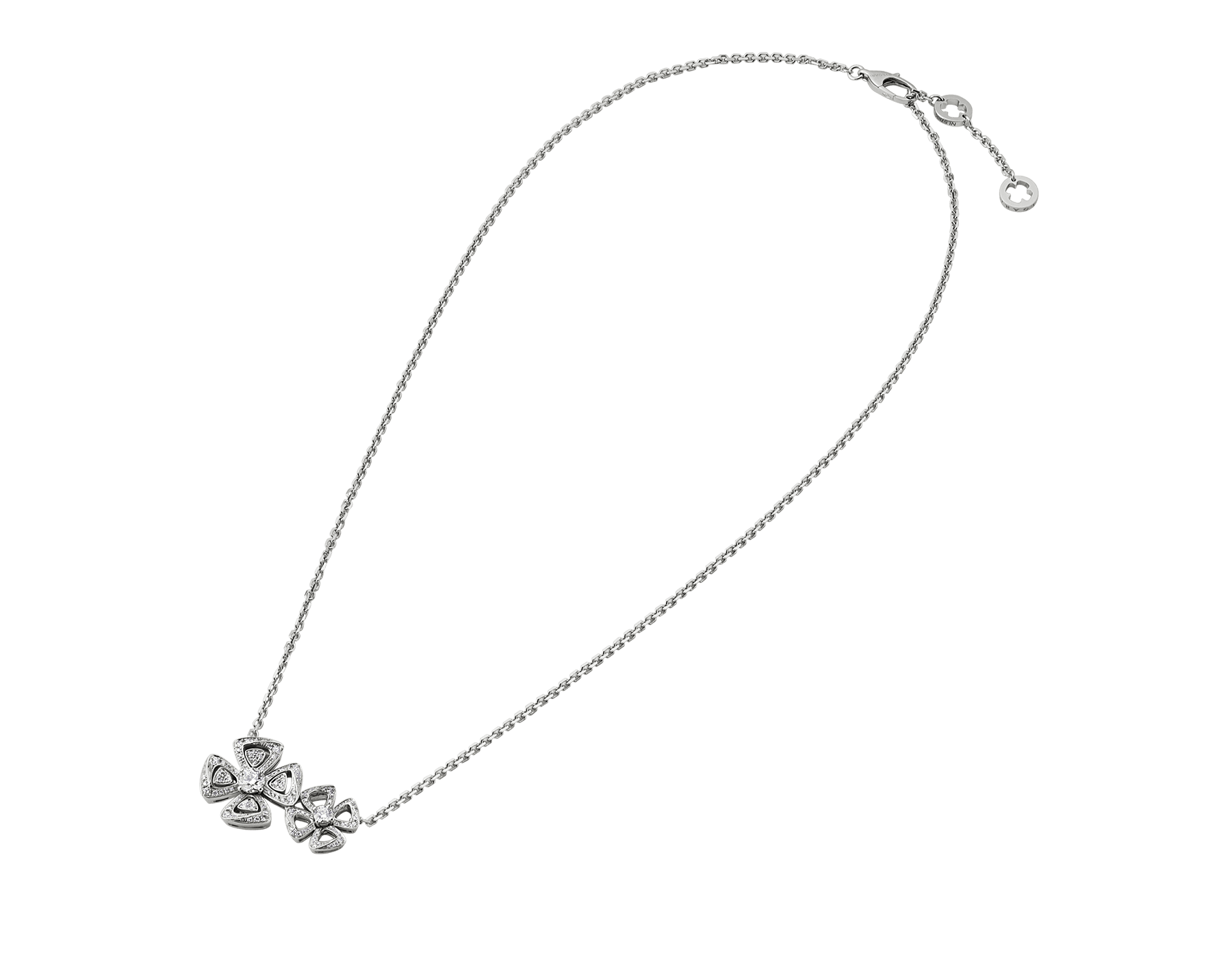 Fiorever two-flowers 18 kt white gold necklace set with two central diamonds (0.30 ct and 0.10 ct) and pavé diamonds (0.31 ct) 354498 image 2