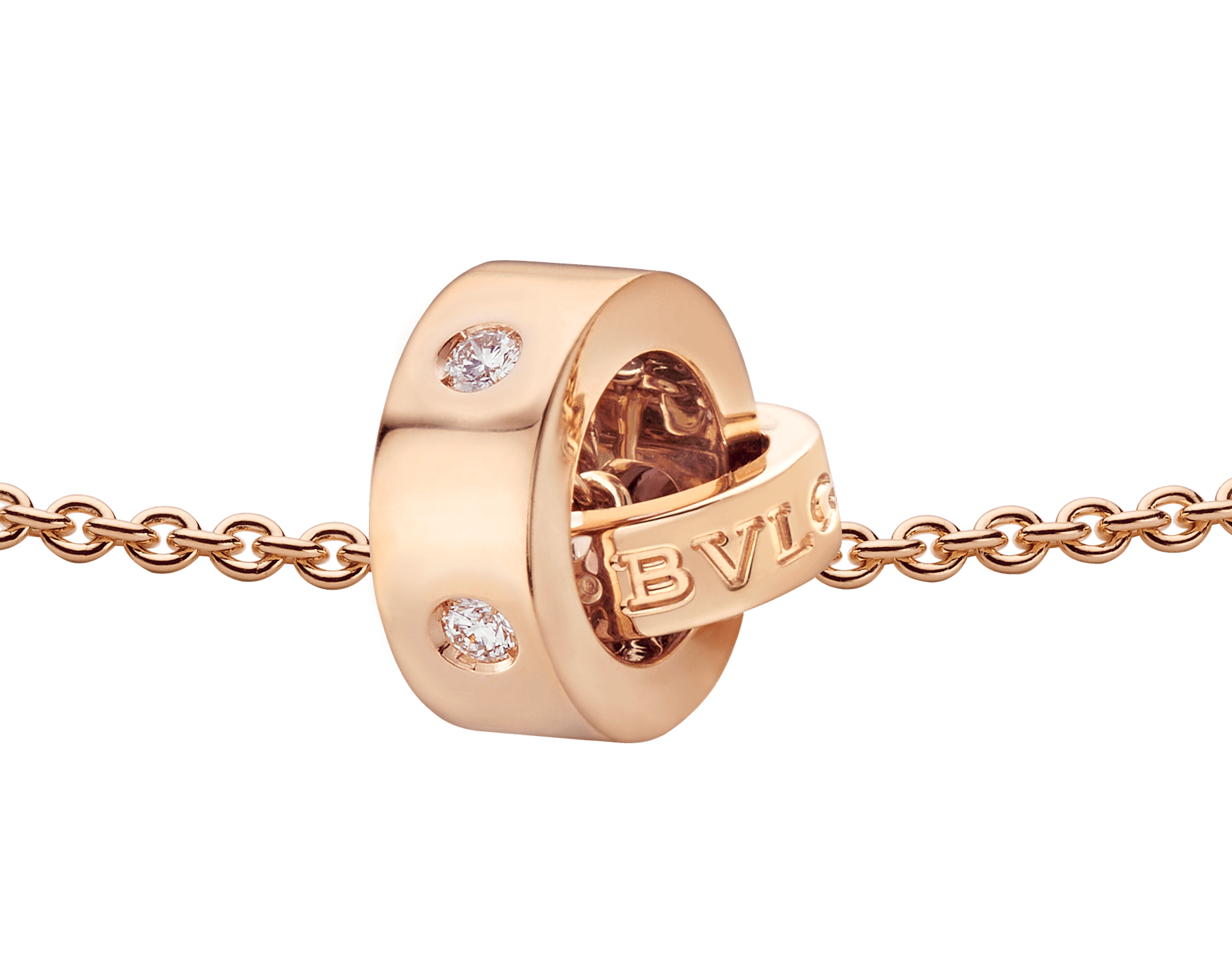 BVLGARI BVLGARI necklace with 18 kt rose gold chain and 18 kt rose gold pendant set with five diamonds. 354028 image 3