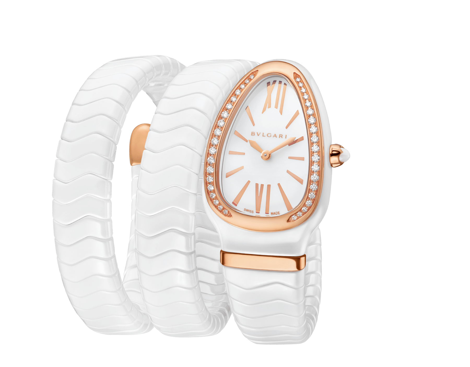 Serpenti Spiga watch with white ceramic case, 18 kt rose gold bezel set with diamonds, white lacquered polished dial and double spiral bracelet in white ceramic and 18 kt rose gold elements. 102886 image 2