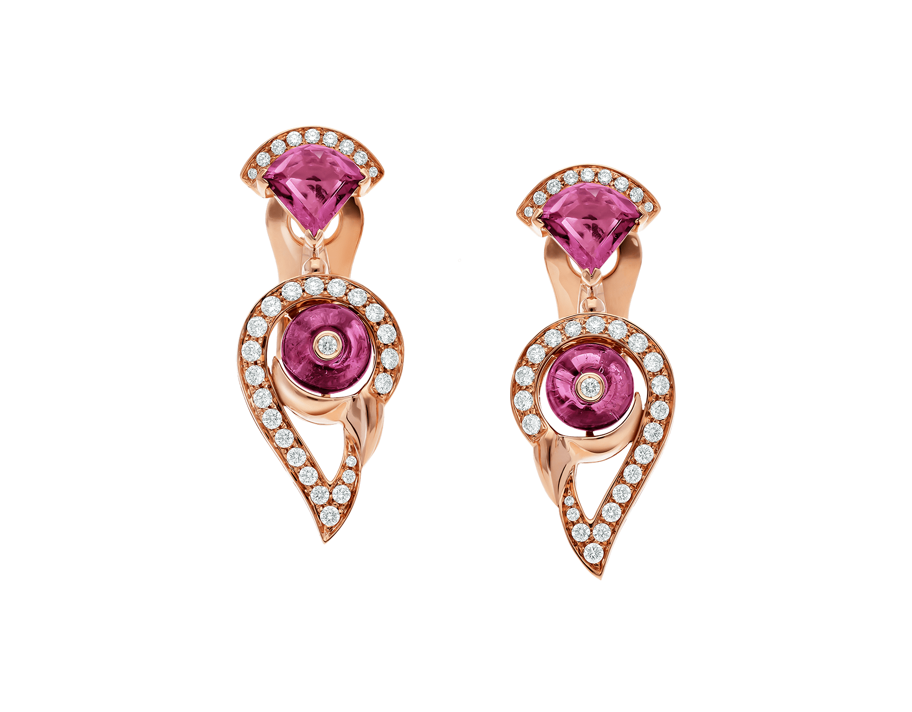 Boucles d'oreille DIVAS' DREAM en or rose 18 K serties de rubellite rose et tourmaline rose avec pavé diamants. 354079 image 1