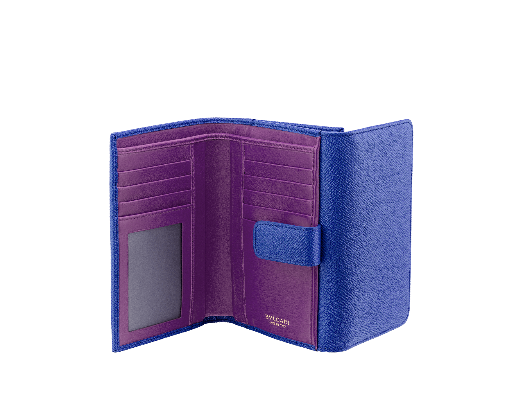 BVLGARI BVLGARI compact pochette in cobalt tourmaline grain calf leather and aster amethyst nappa leather. Iconic logo closure clip in light gold plated brass 287604 image 2