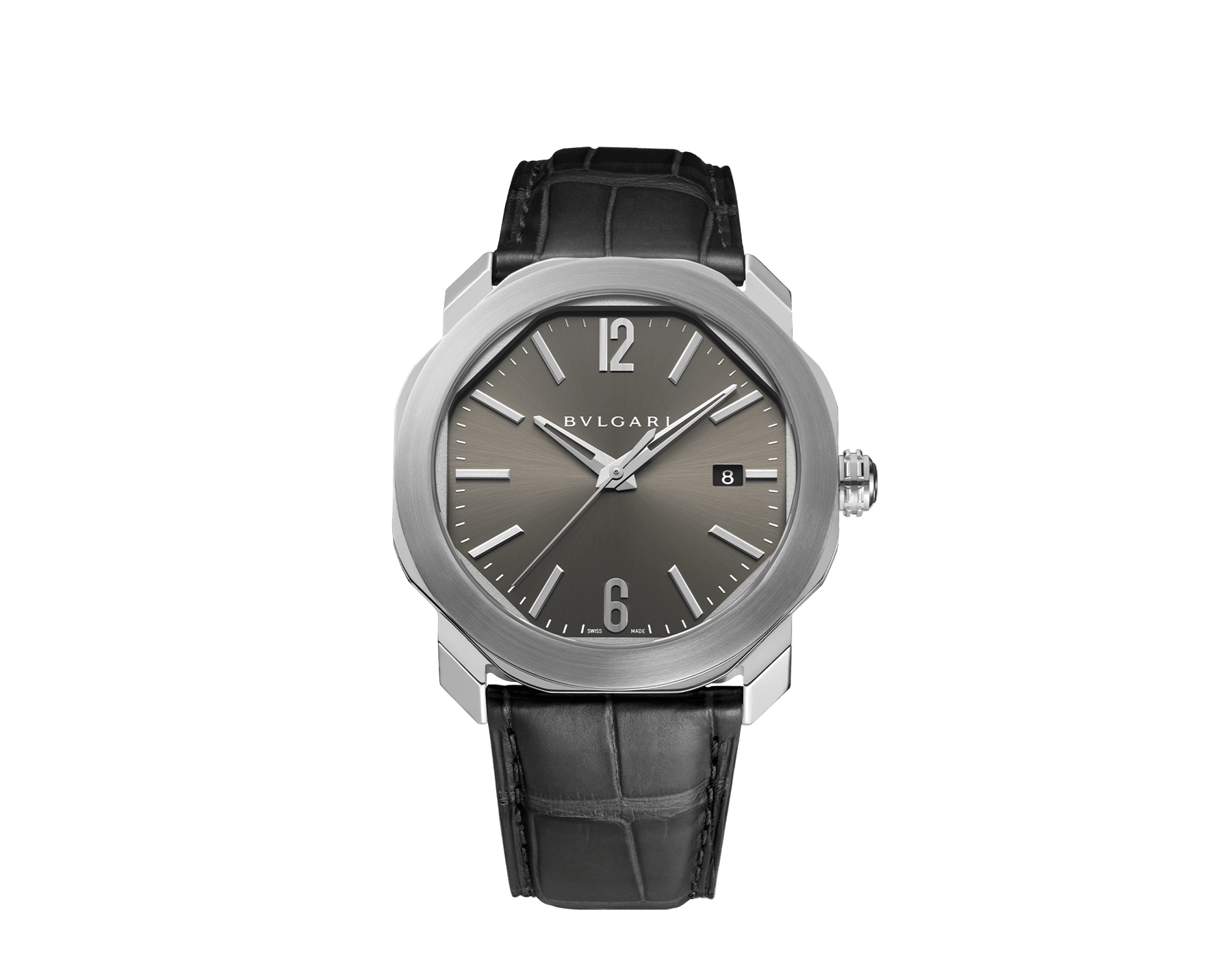 Octo Roma watch with mechanical manufacture movement, automatic winding, stainless steel case, anthracite dial and black alligator bracelet. 102855 image 1