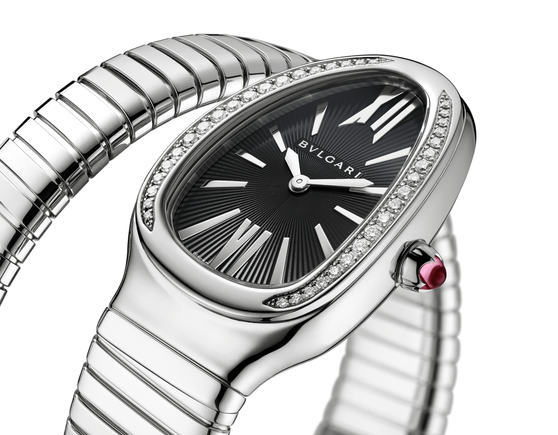 Serpenti Tubogas single spiral watch with stainless steel case and bracelet, bezel set with brilliant-cut diamonds and black dial with guilloché soleil treatment. Water-resistant up to 30 meters. Large size 103434 image 2