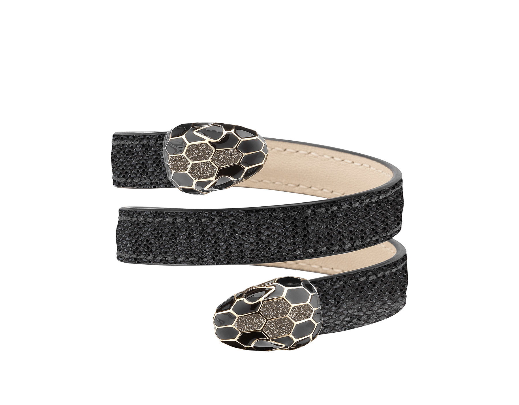 Multi-coiled rigid Cleopatra bracelet in moon silver metallic karung skin, with brass light gold plated hardware. Double tempting Serpenti head finished in glitter silver and black enamel, with eyes in black enamel. Cleopatra-MK-MS image 1
