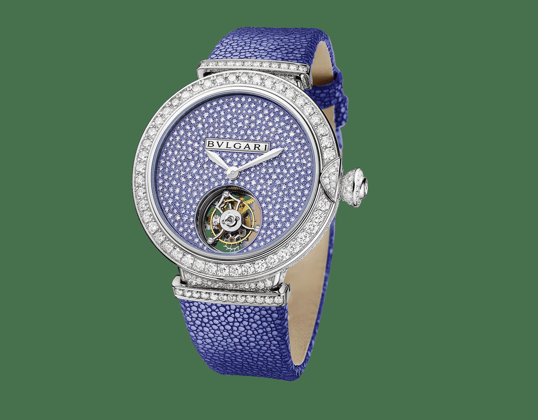 Montre LVCEA Tourbillon en édition limitée avec mouvement mécanique de manufacture, remontage automatique, tourbillon transparent, boîtier en or blanc 18K serti de diamants ronds taille brillant, cadran pavé diamants avec diamants ronds taille brillant et finition bleue, bracelet en galuchat bleu 102881 image 1