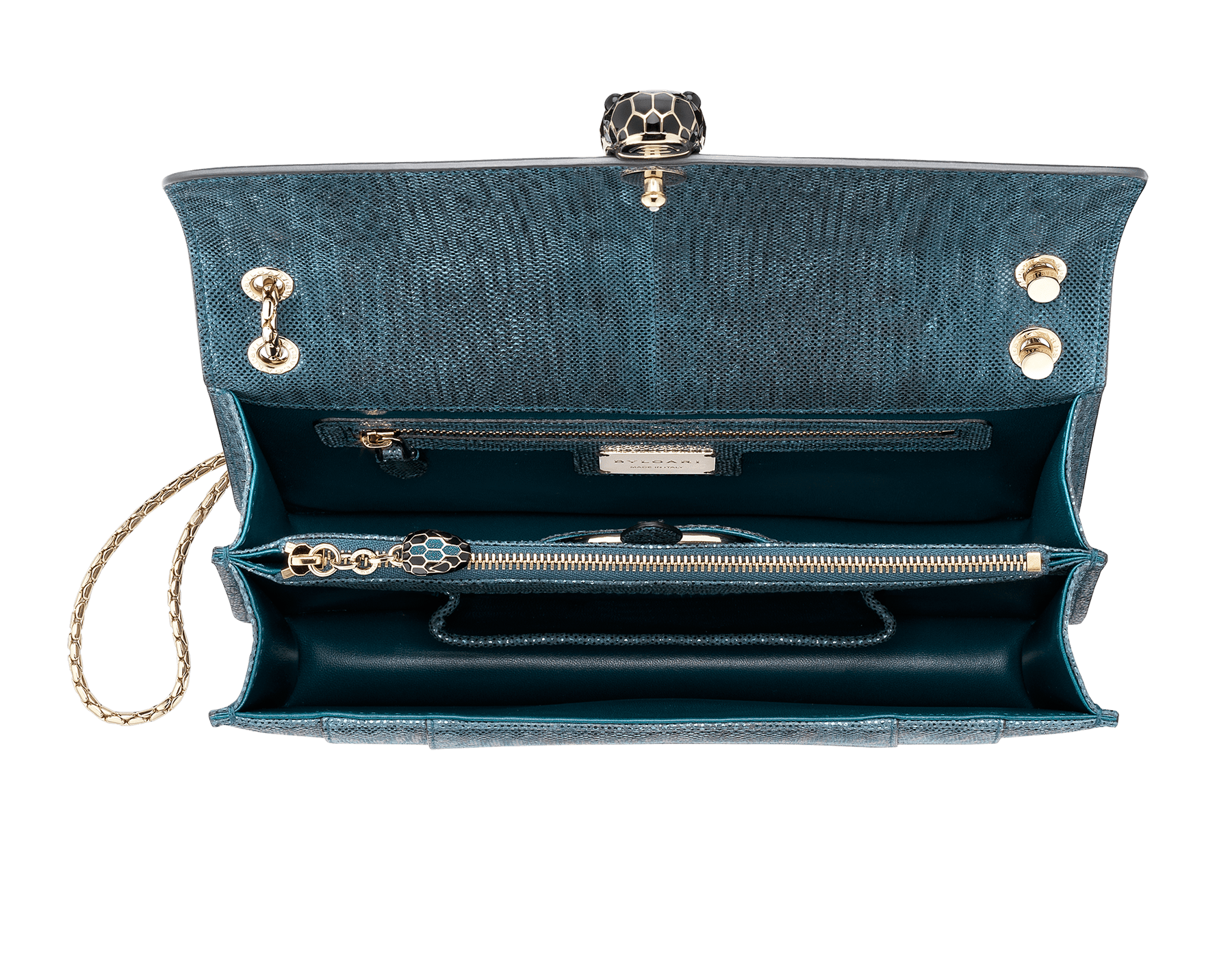 """""""Serpenti Forever"""" shoulder bag in deep jade metallic karung skin. Iconic snakehead closure in light gold plated brass enriched with black and glitter deep jade enamel and black onyx eyes. 287940 image 4"""