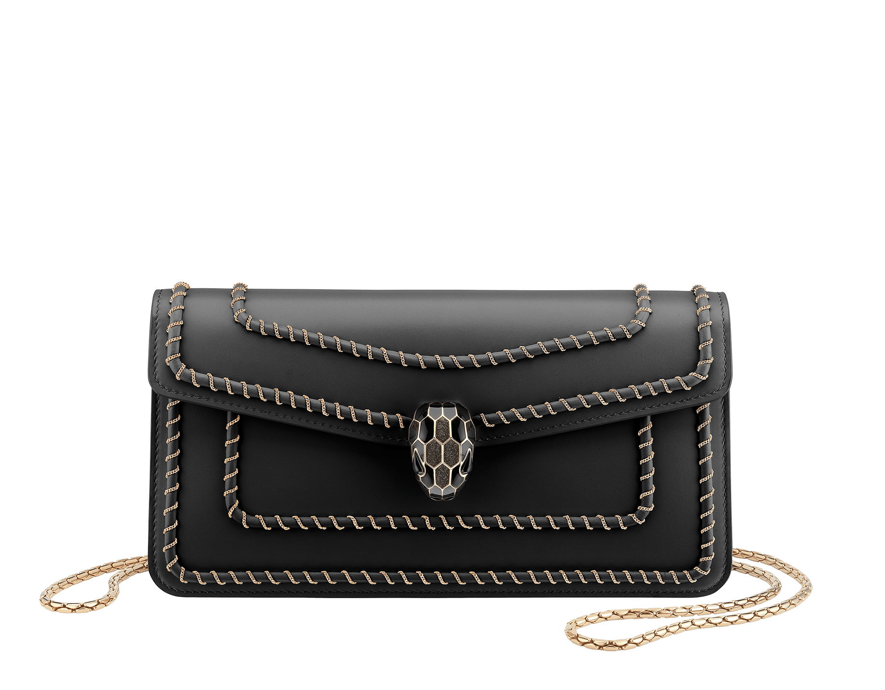 """Serpenti Forever"" shoulder bag in black calf leather, featuring a Woven Chain. Iconic snakehead closure in light gold plated brass enriched with black enamel and black onyx eyes 287456 image 1"