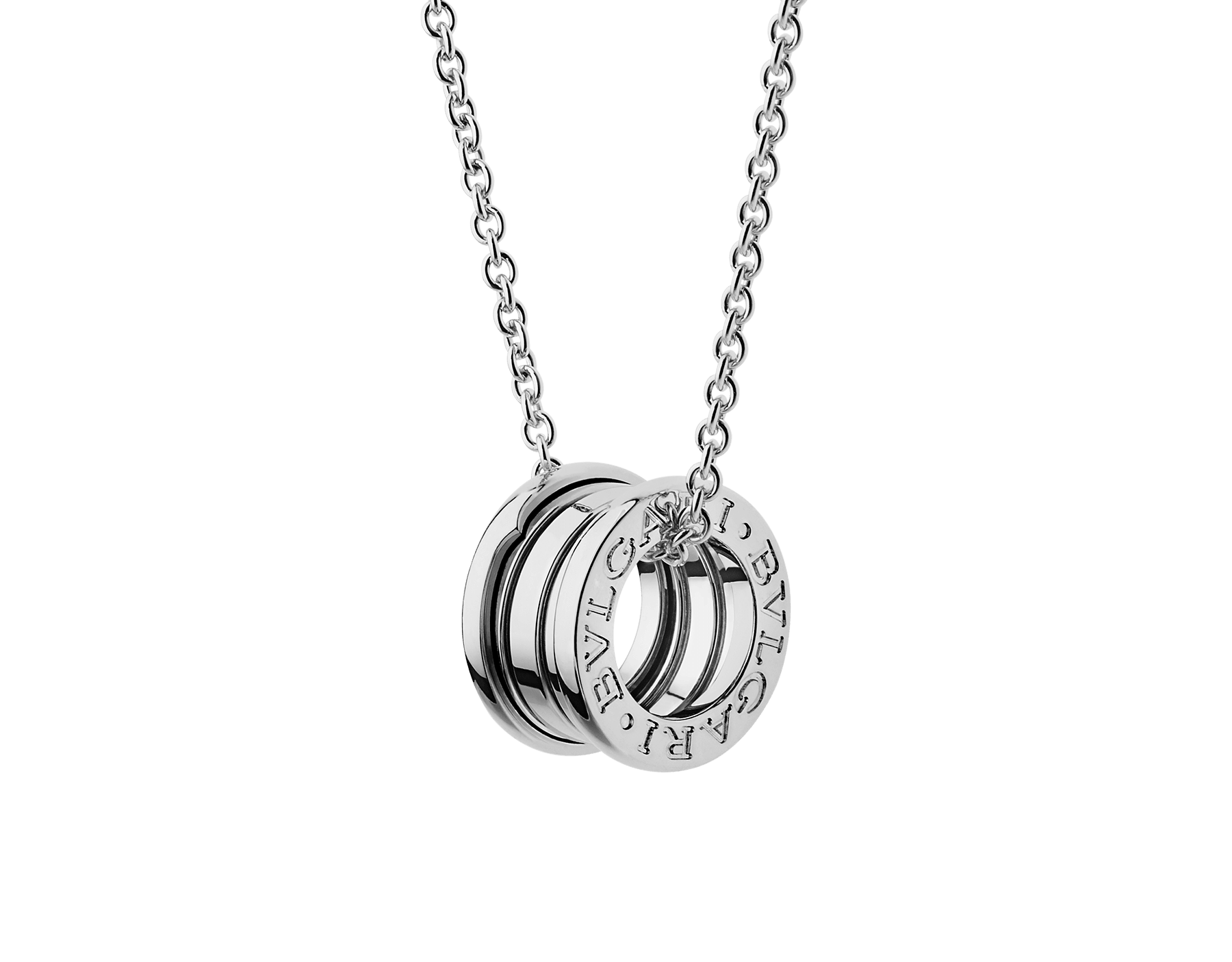 B.zero1 necklace with small round pendant, both in 18kt white gold. 352815 image 1