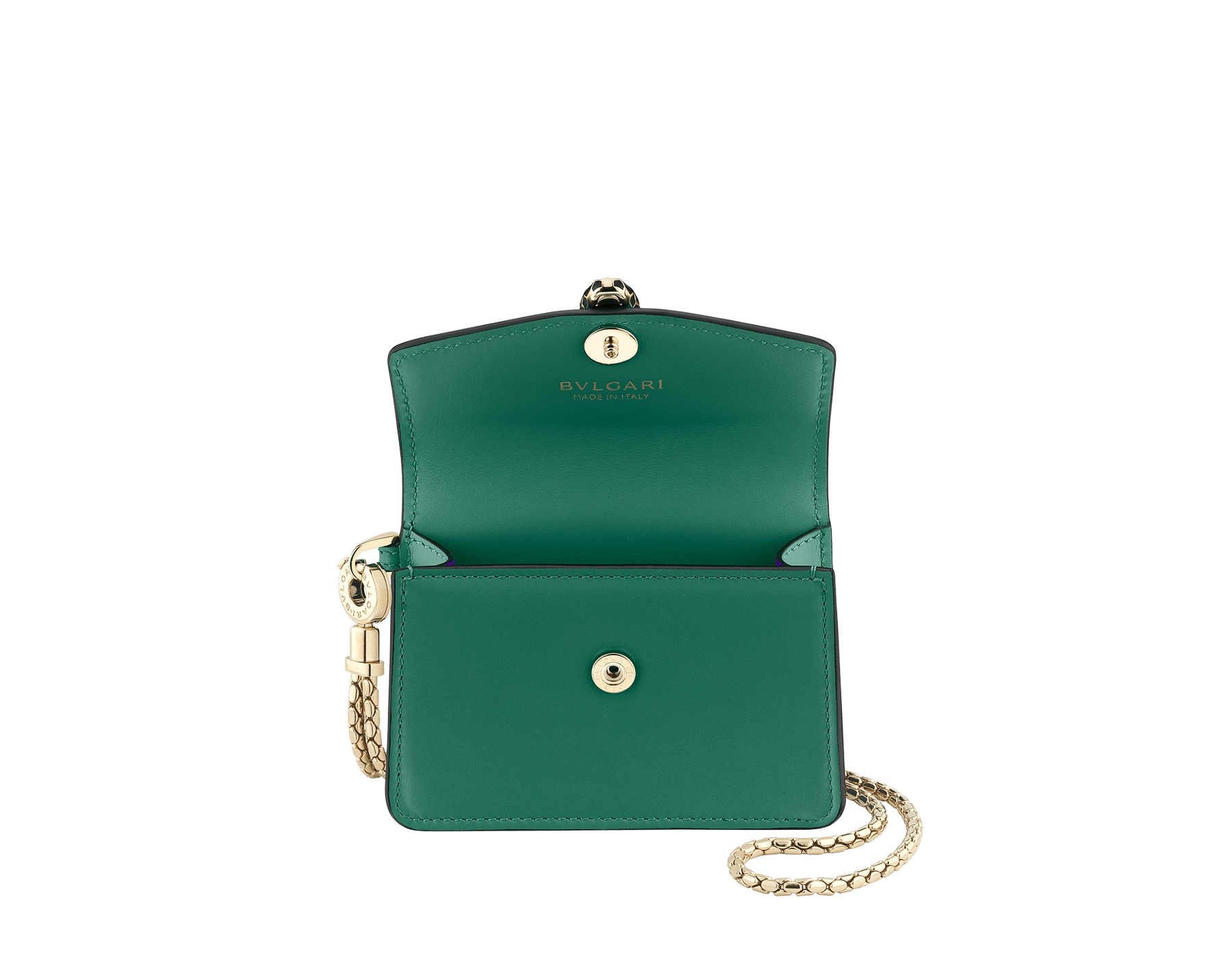 Serpenti Forever neck credit card holder in emerald green calf leather. Iconic snake head closure in black and white enamel, with green enamel eyes. 289099 image 2