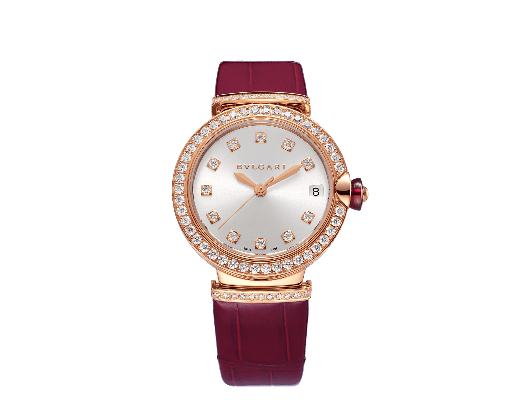 LVCEA watch with 18 kt rose gold and brilliant-cut diamond case, silver satiné soleil dial, diamond indexes and bordeaux alligator bracelet. 102329 image 1