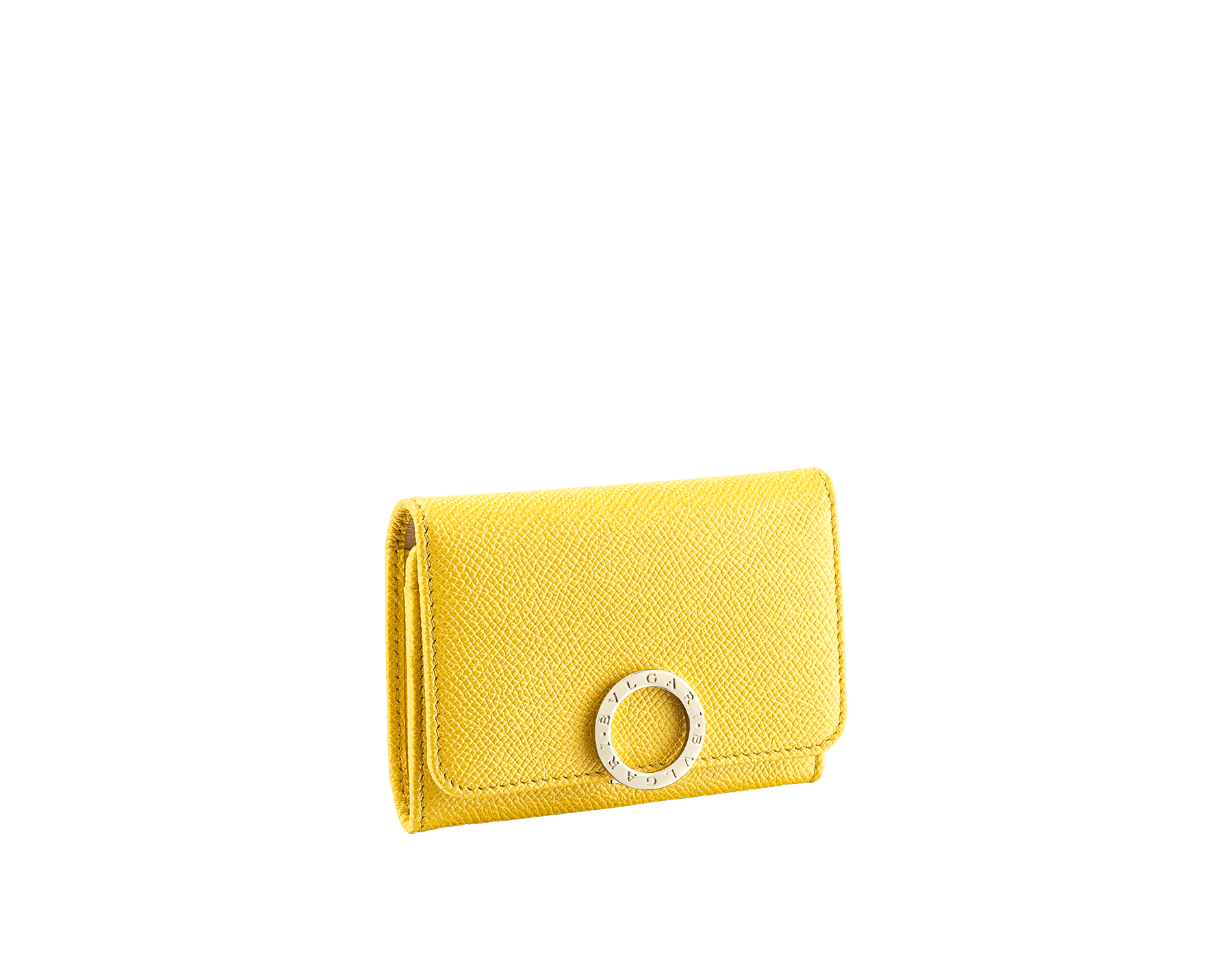 """BVLGARI BVLGARI"" business card holder in mint bright grain calf leather and taffy quartz nappa leather. Iconic logo clip closure in light gold plated brass. 579-BC-HOLDER-BGCLc image 1"